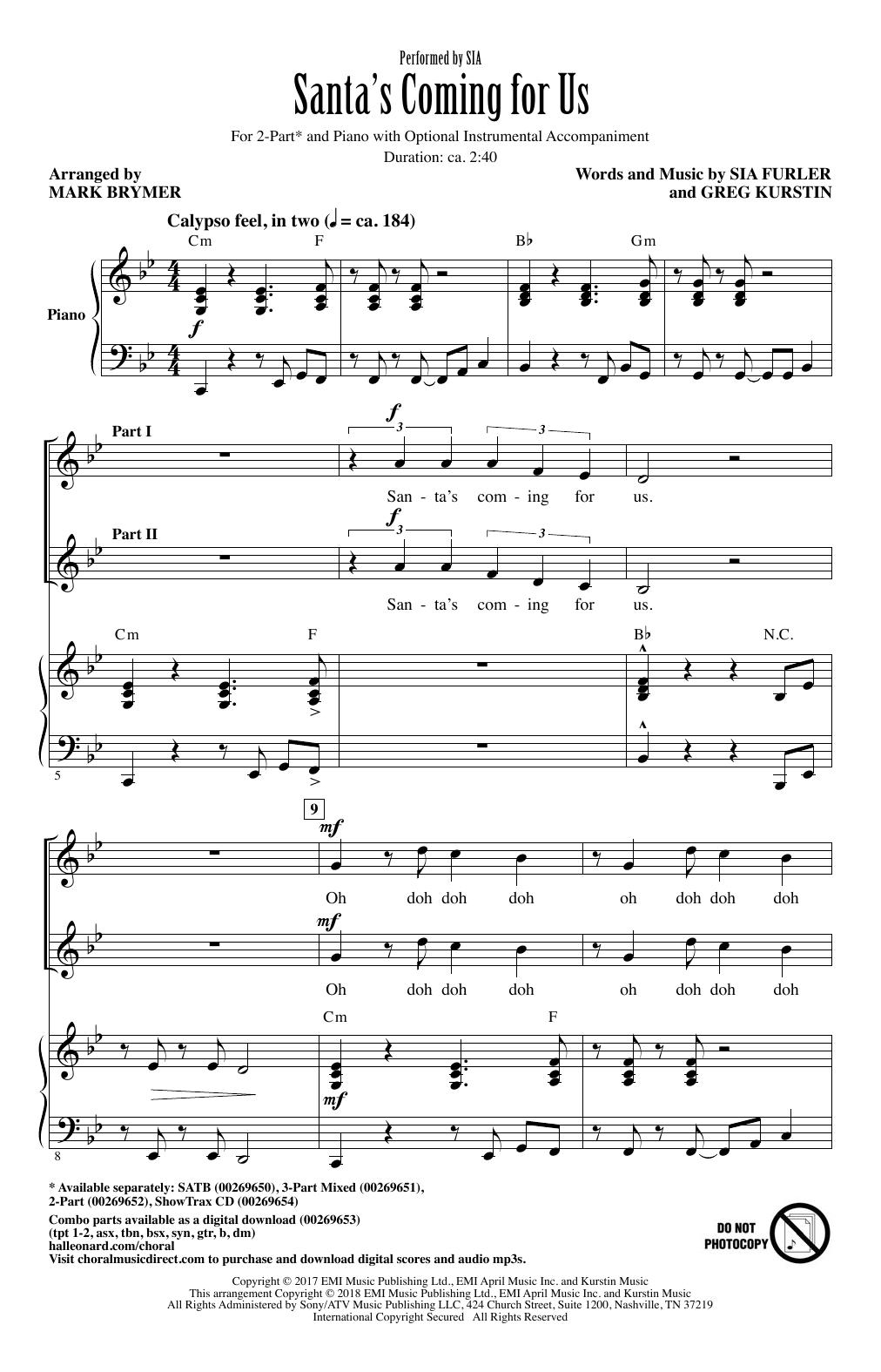 Santa's Coming For Us (arr. Mark Brymer) Sheet Music
