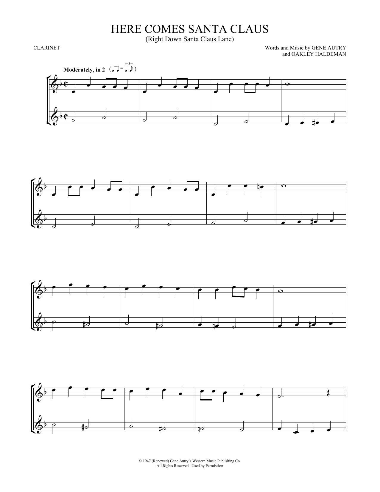 Here Comes Santa Claus (Right Down Santa Claus Lane) (Clarinet Duet)