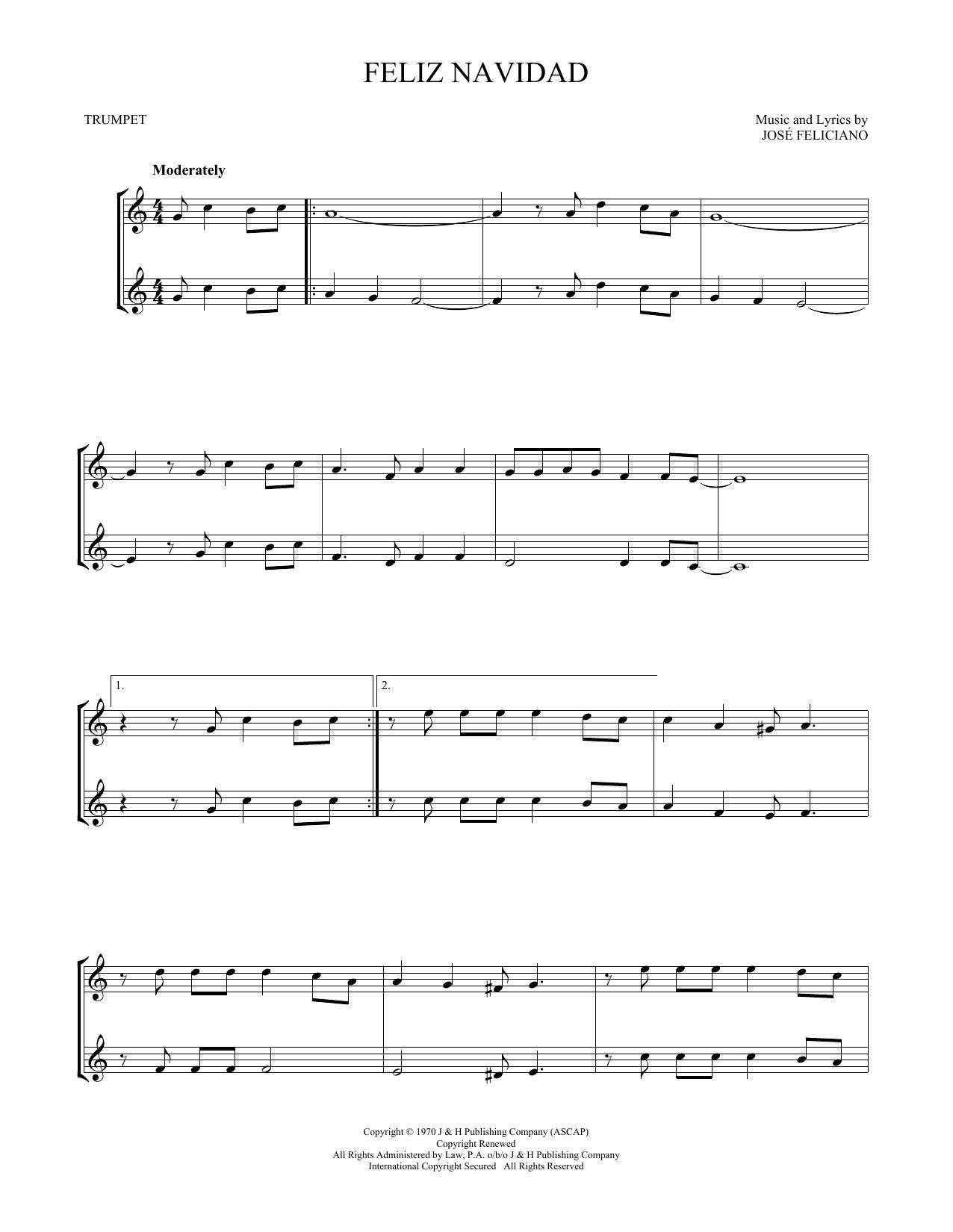 Feliz Navidad (Trumpet Duet)