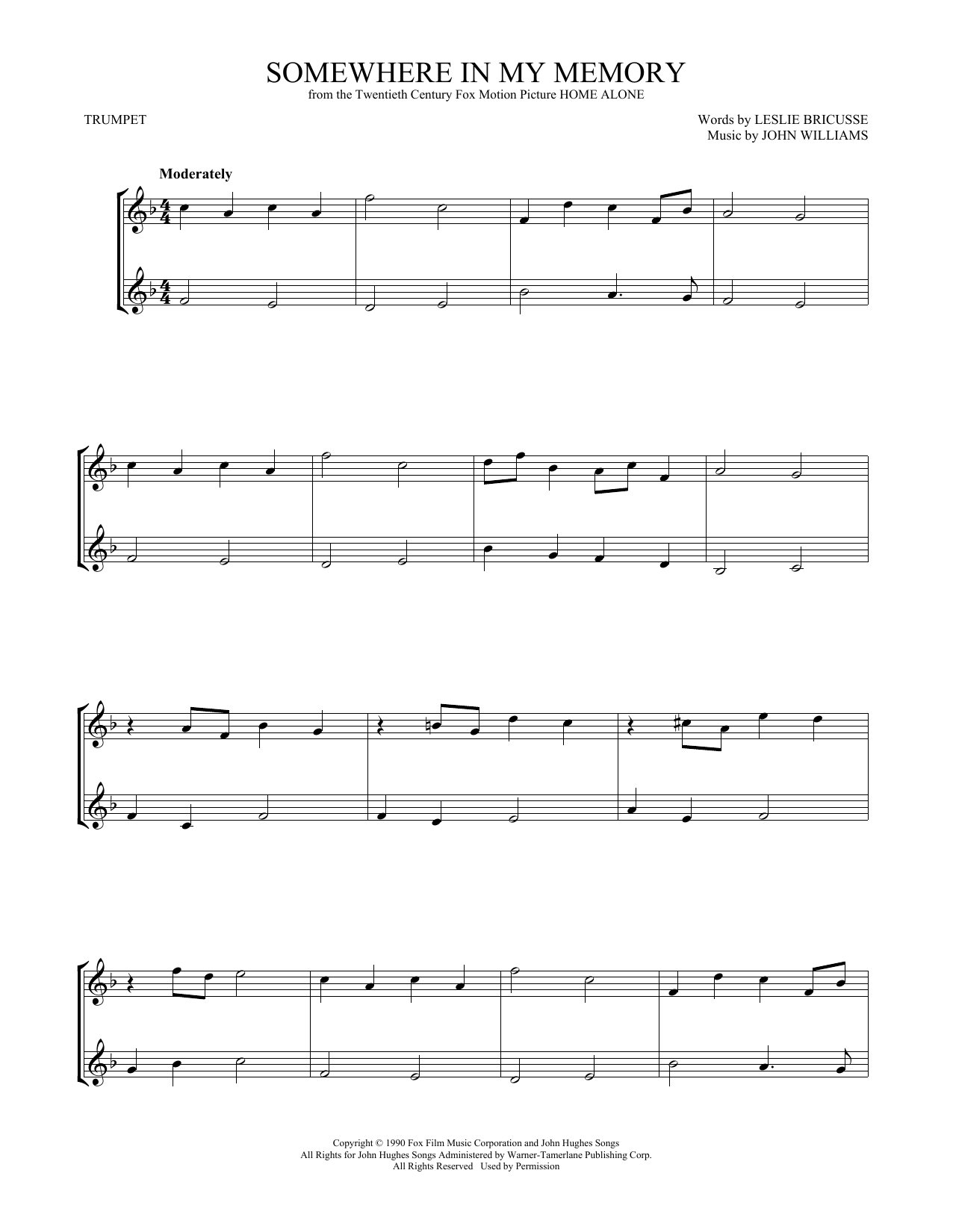 Somewhere In My Memory (Trumpet Duet) - Print Sheet Music Now