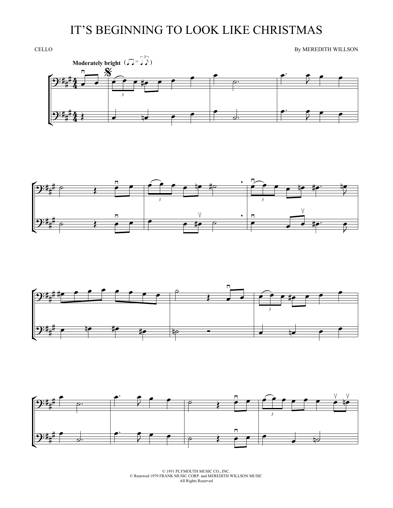 It S Beginning To Look Like Christmas Cello Duet Print Sheet Music