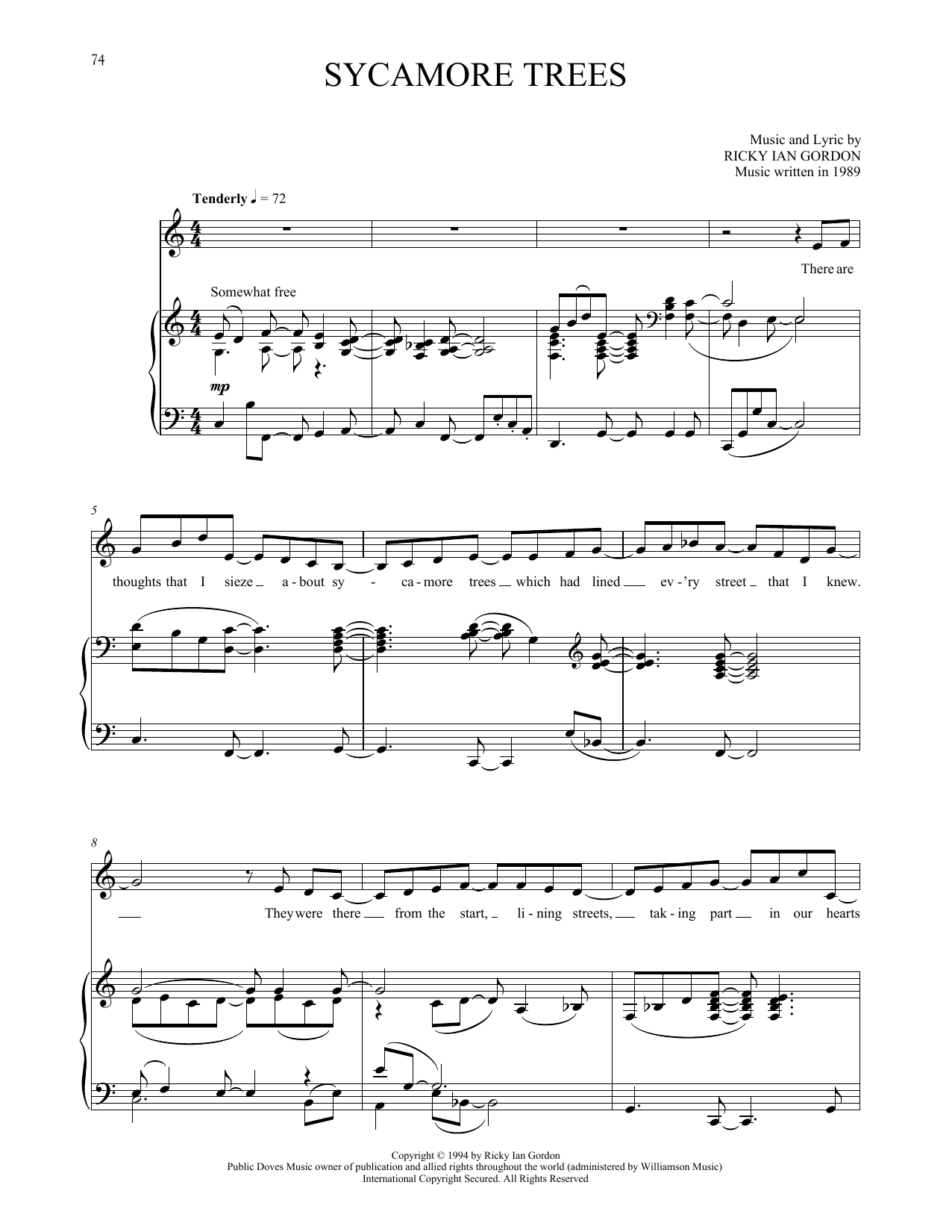 Sycamore Trees Sheet Music