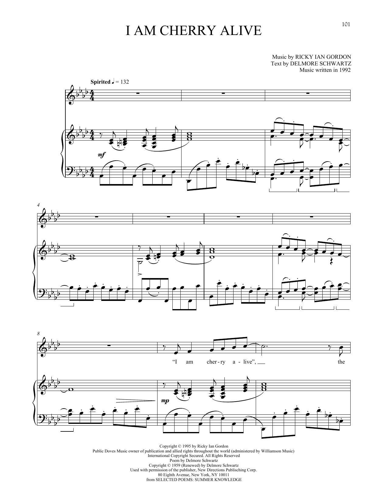 I Am Cherry Alive Sheet Music