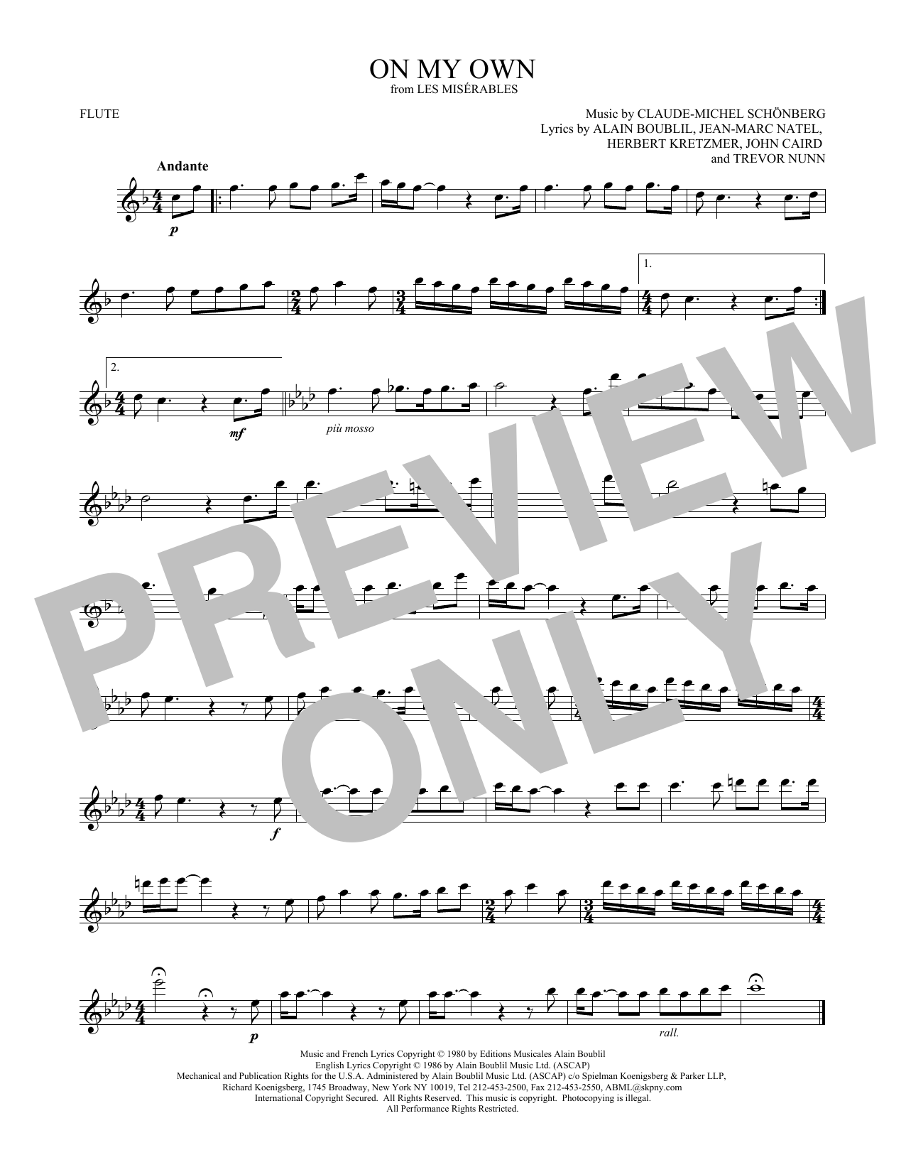 On My Own (from Les Miserables) (Flute Solo)