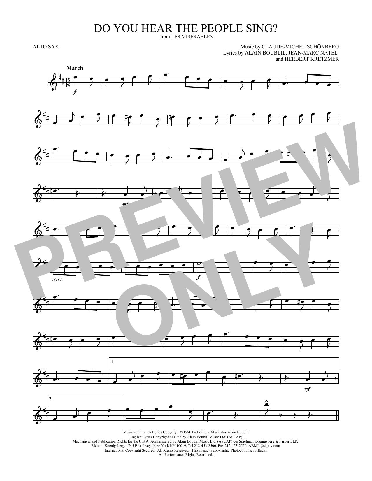 Do You Hear The People Sing? (Alto Sax Solo)