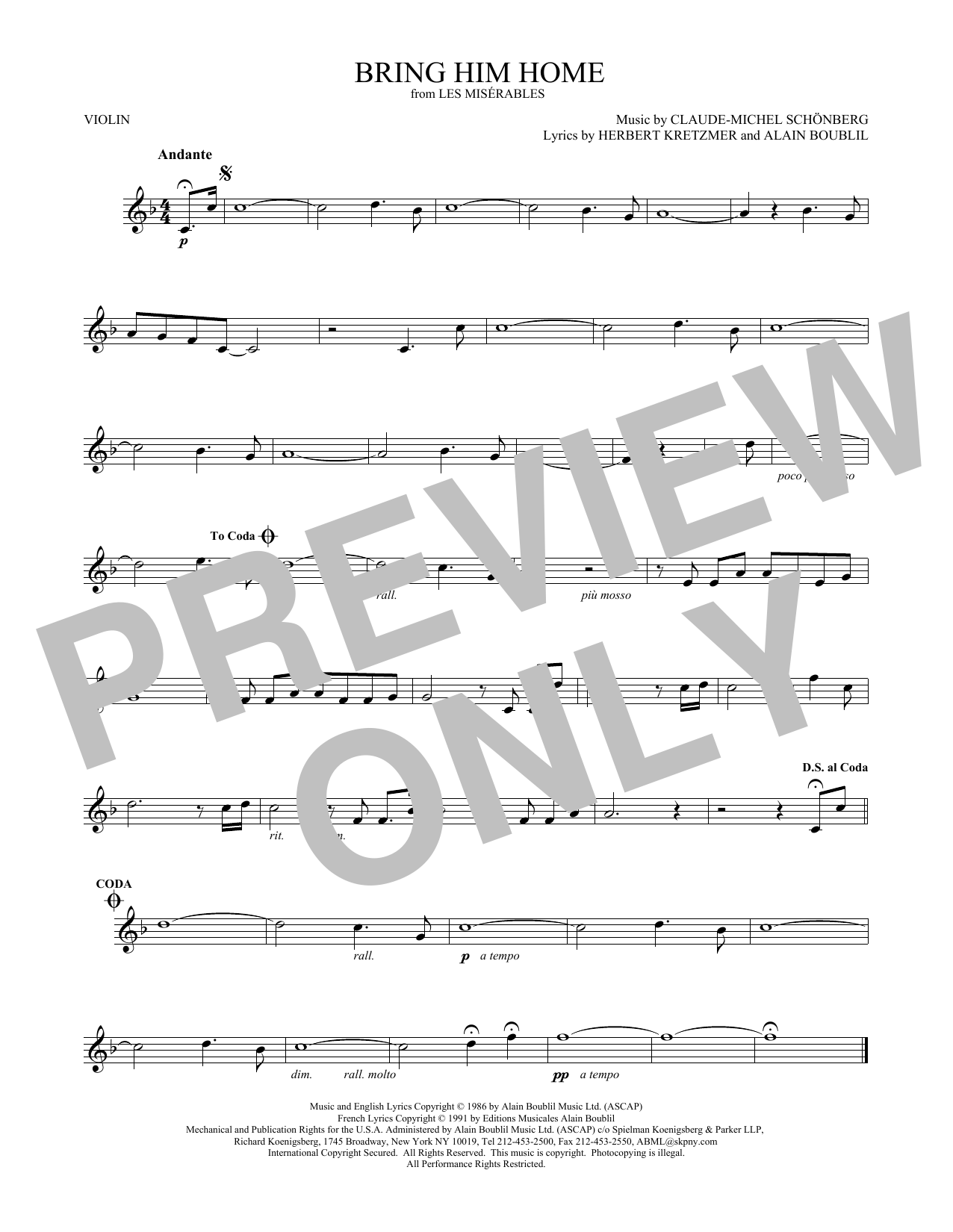 Bring Him Home (Violin Solo)