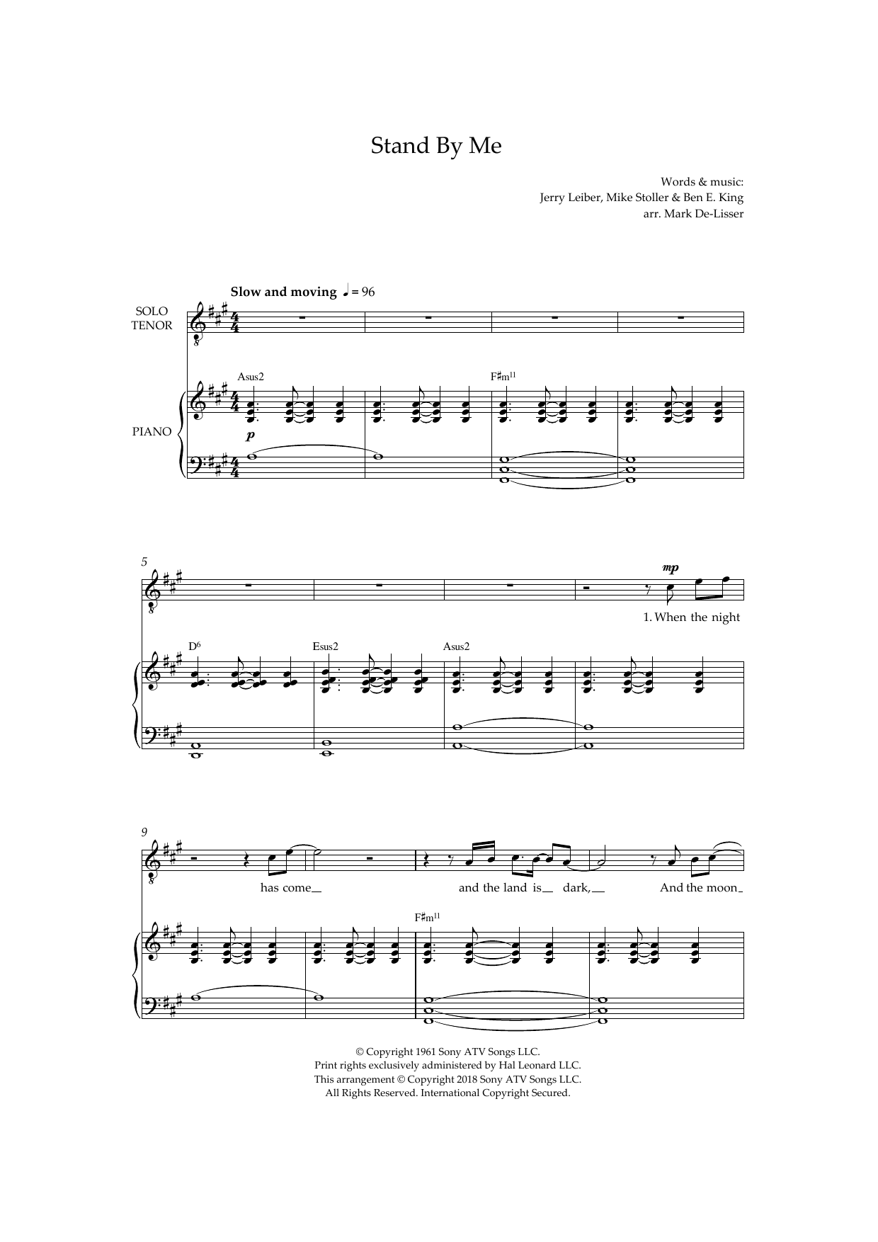 Stand By Me (Royal Wedding Version) (arr. Mark De-Lisser) Sheet Music