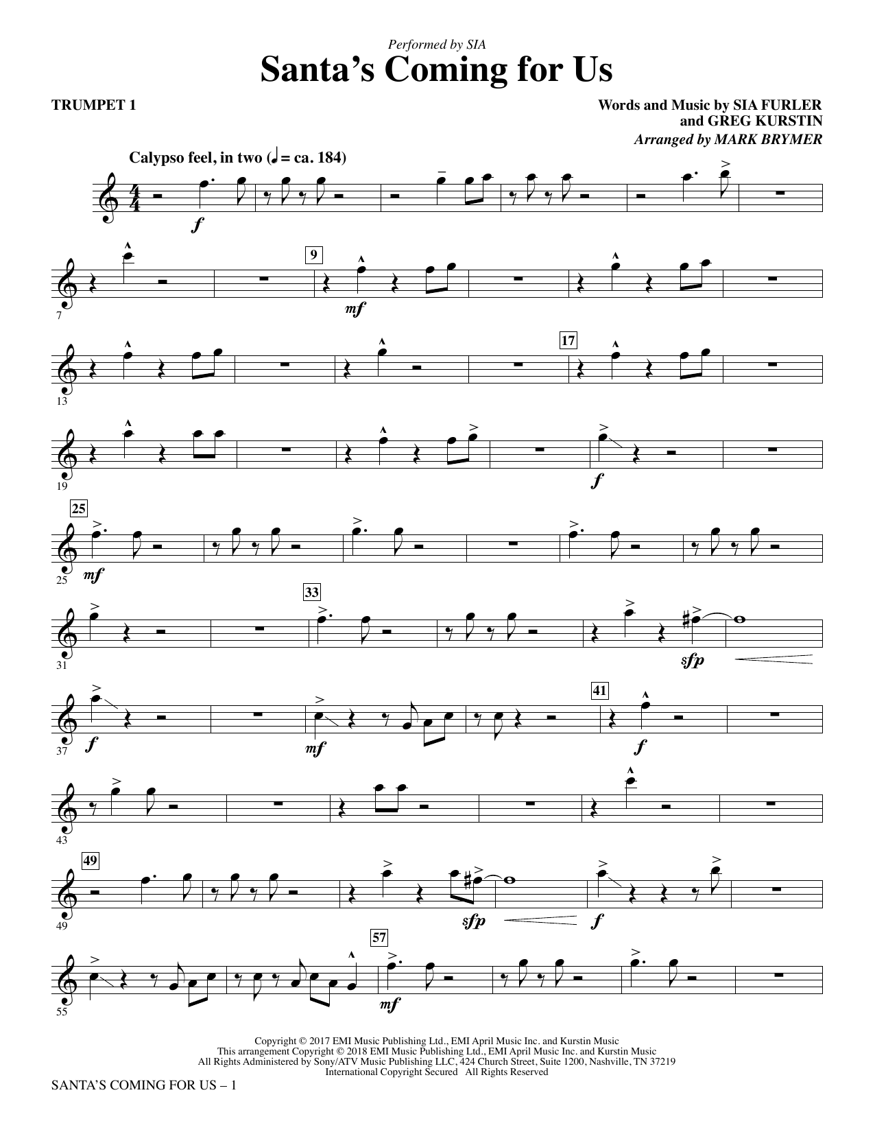 Santa's Coming for Us - Trumpet 1 (Choir Instrumental Pak)