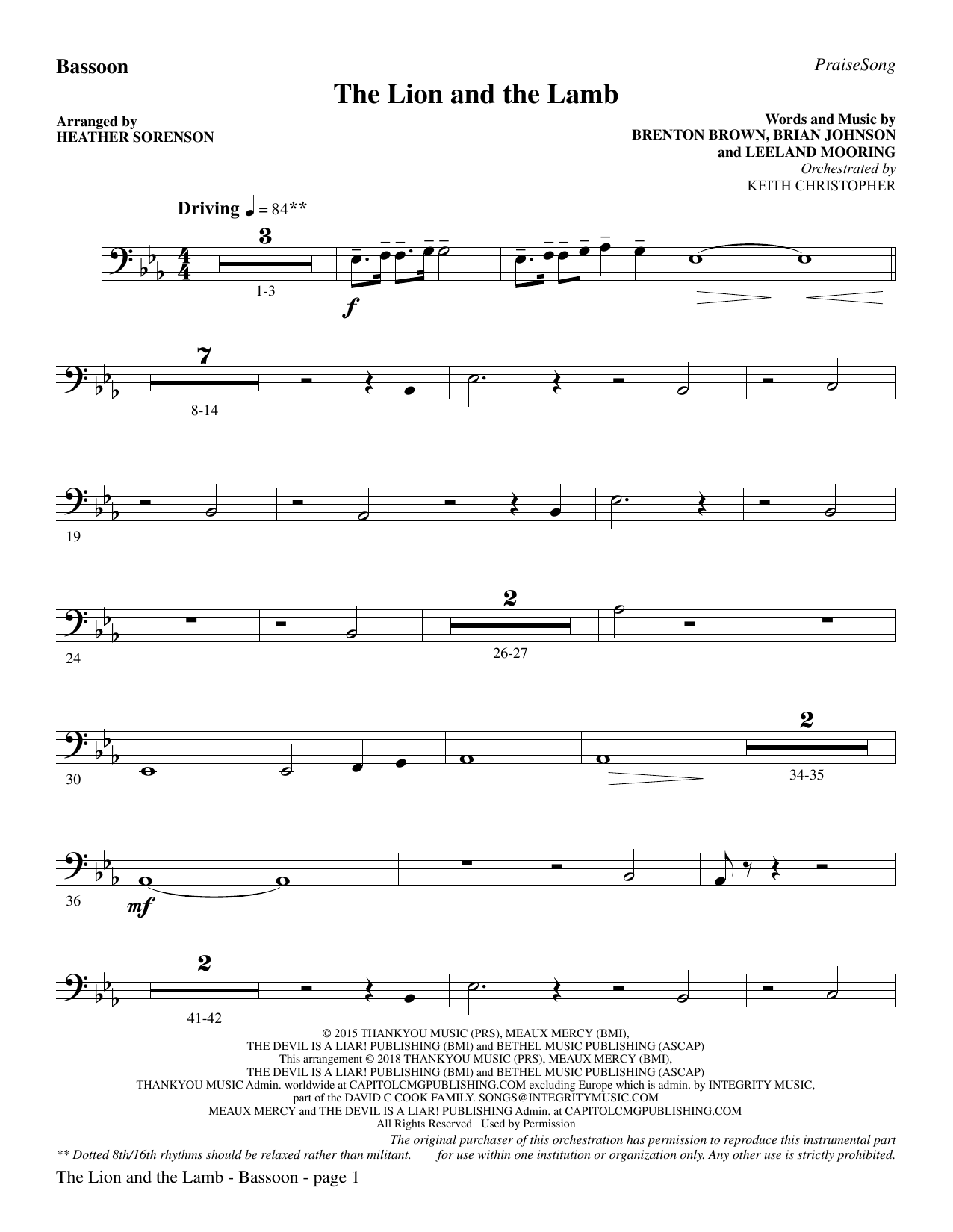 The Lion and the Lamb (with All Hail the Power of Jesus' Name) - Bassoon (Choir Instrumental Pak)