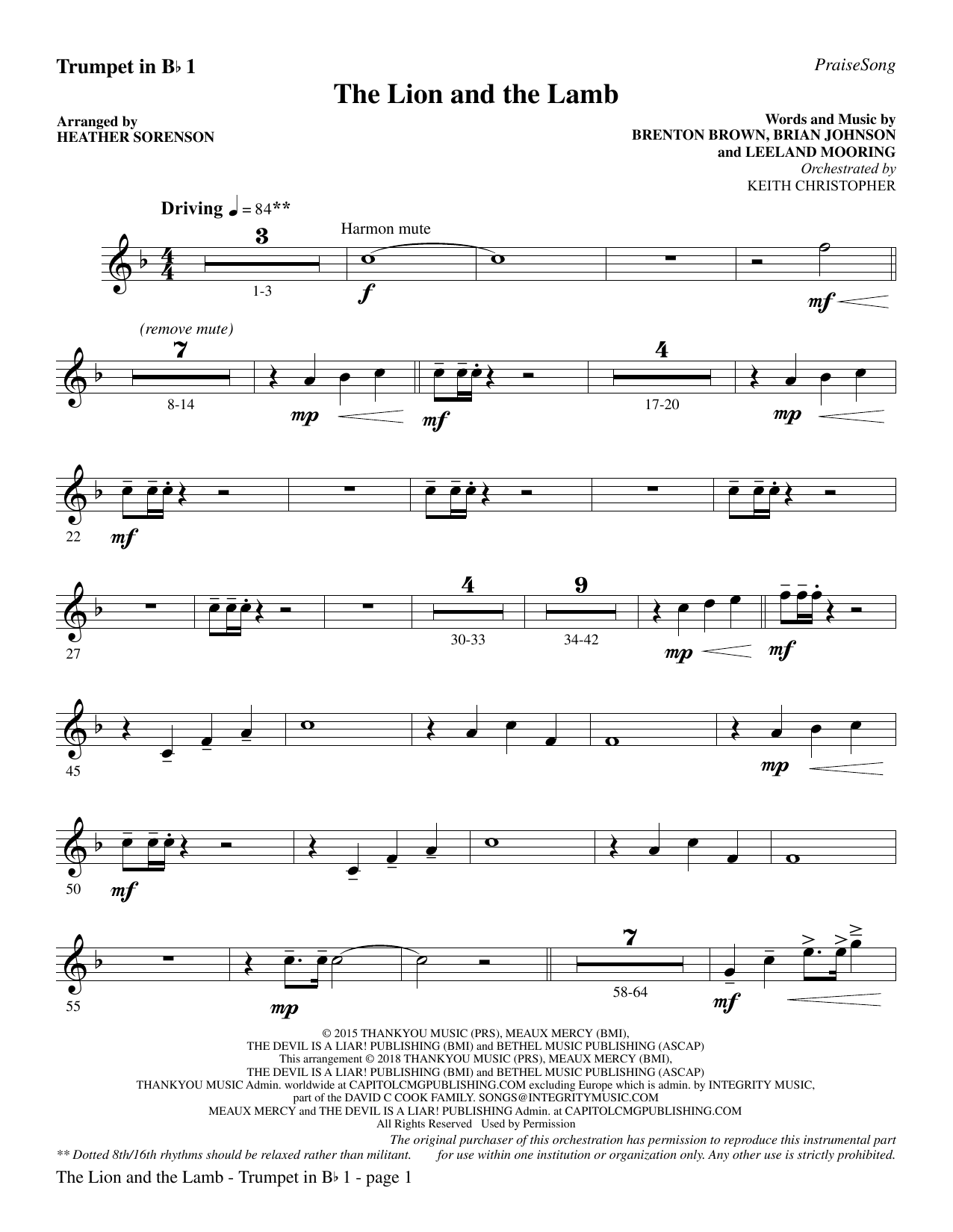The Lion and the Lamb (with All Hail the Power of Jesus' Name) - Bb Trumpet 1 (Choir Instrumental Pak)