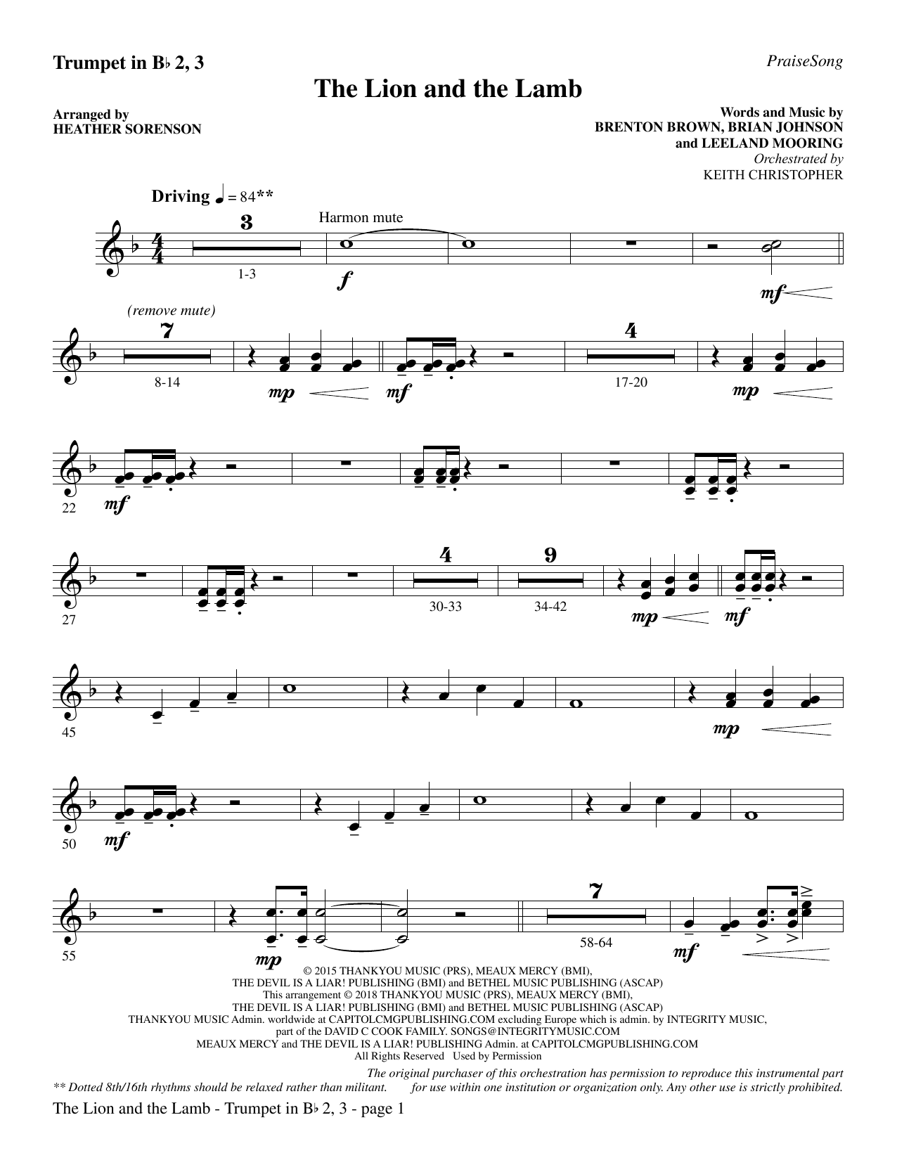 The Lion and the Lamb (with All Hail the Power of Jesus' Name) - Bb Trumpet 2,3 (Choir Instrumental Pak)