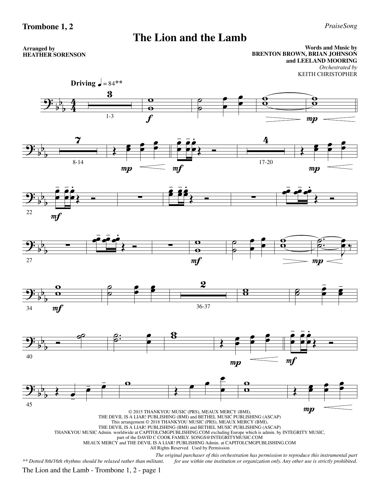 The Lion and the Lamb (with All Hail the Power of Jesus' Name) - Trombone 1 & 2 (Choir Instrumental Pak)