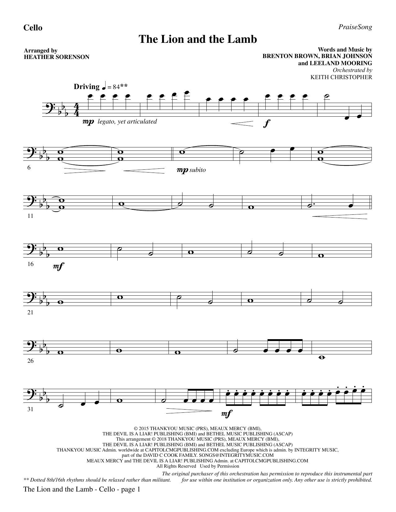 The Lion and the Lamb (with All Hail the Power of Jesus' Name) - Cello (Choir Instrumental Pak)