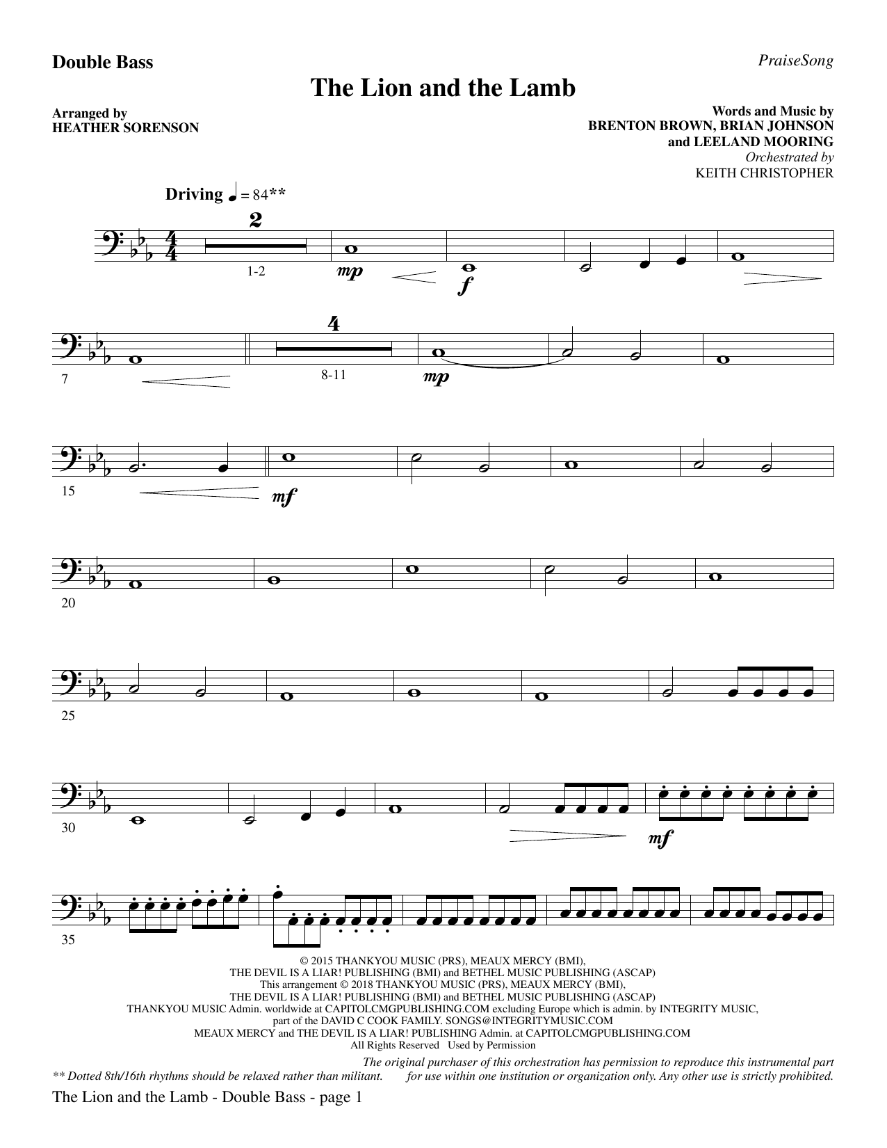 The Lion and the Lamb (with All Hail the Power of Jesus' Name) - Double Bass (Choir Instrumental Pak)