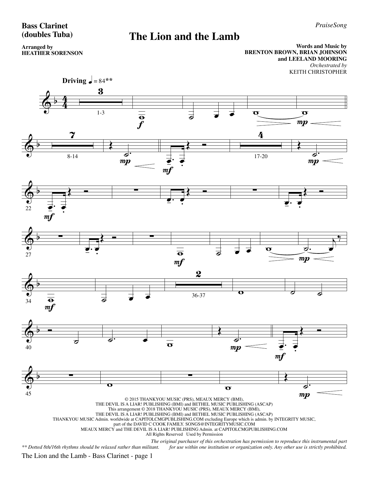 The Lion and the Lamb (with All Hail the Power of Jesus' Name) - Bass Clarinet (sub. Tuba) (Choir Instrumental Pak)