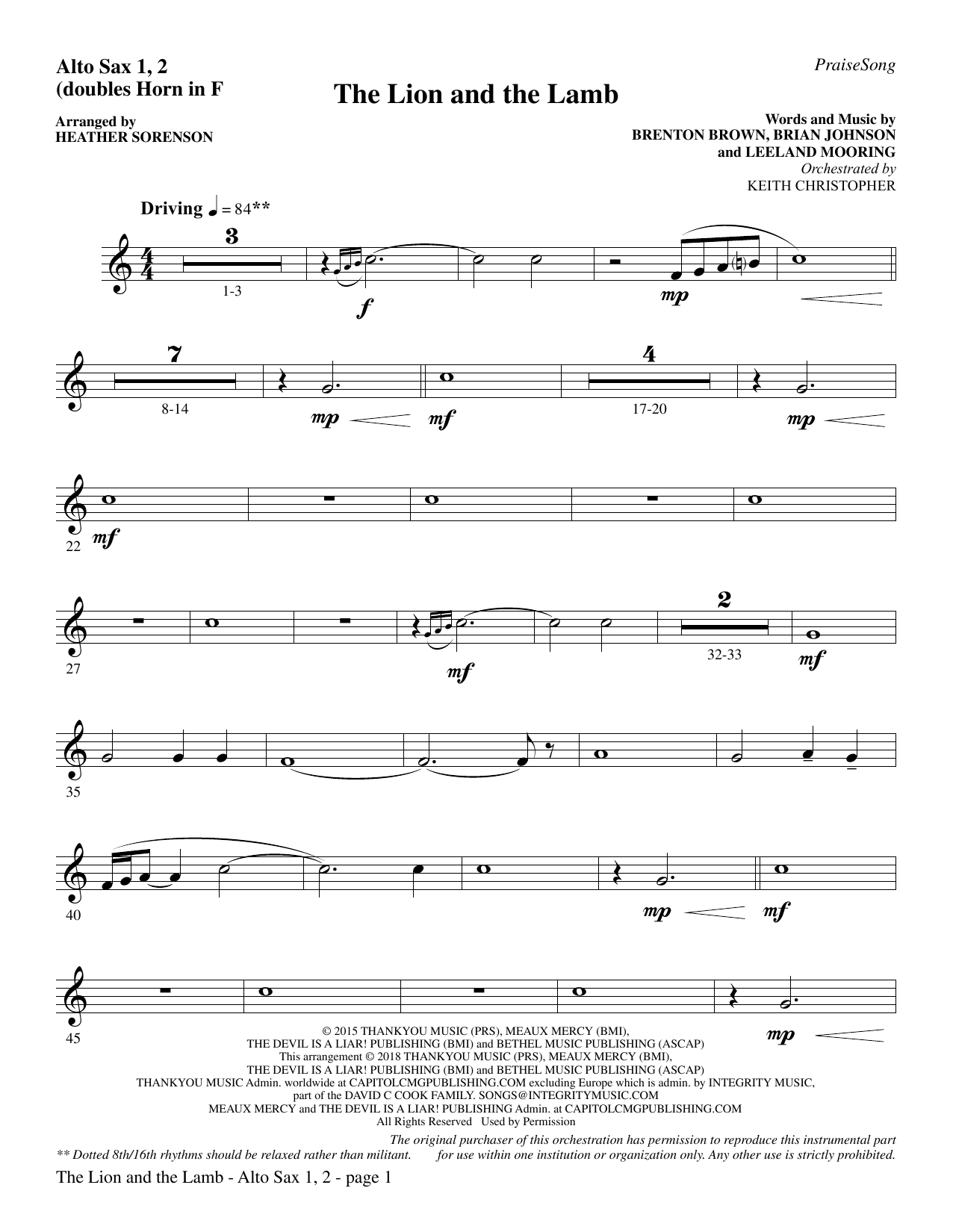 The Lion and the Lamb (with All Hail the Power of Jesus' Name) - Alto Sax 1-2 (sub. Horn 1-2) (Choir Instrumental Pak)