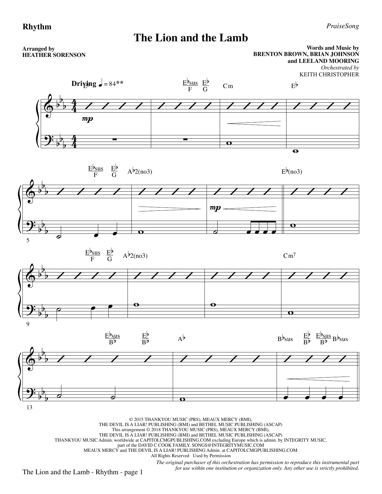 The Lion and the Lamb (with All Hail the Power of Jesus' Name) - Rhythm (Choir Instrumental Pak)