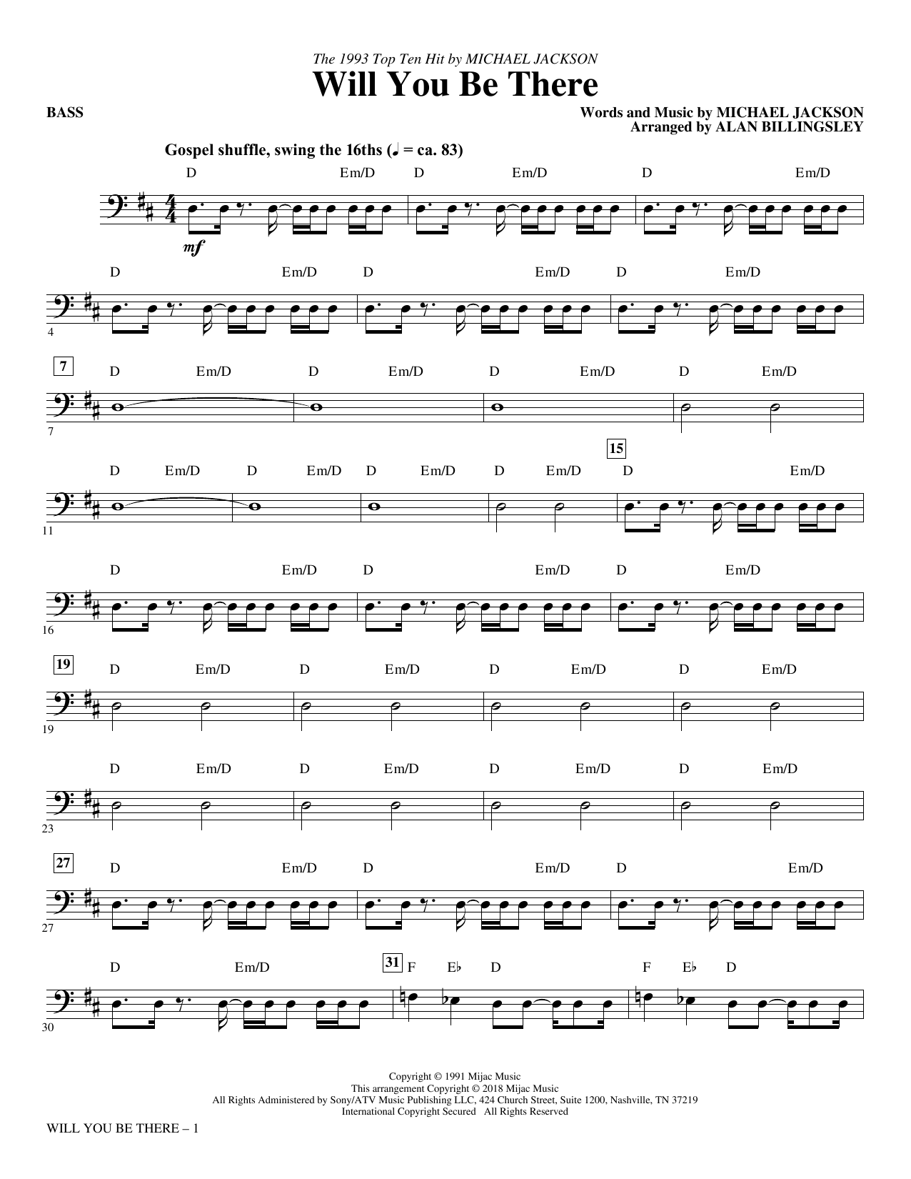 Will You Be There - Bass (Choir Instrumental Pak)