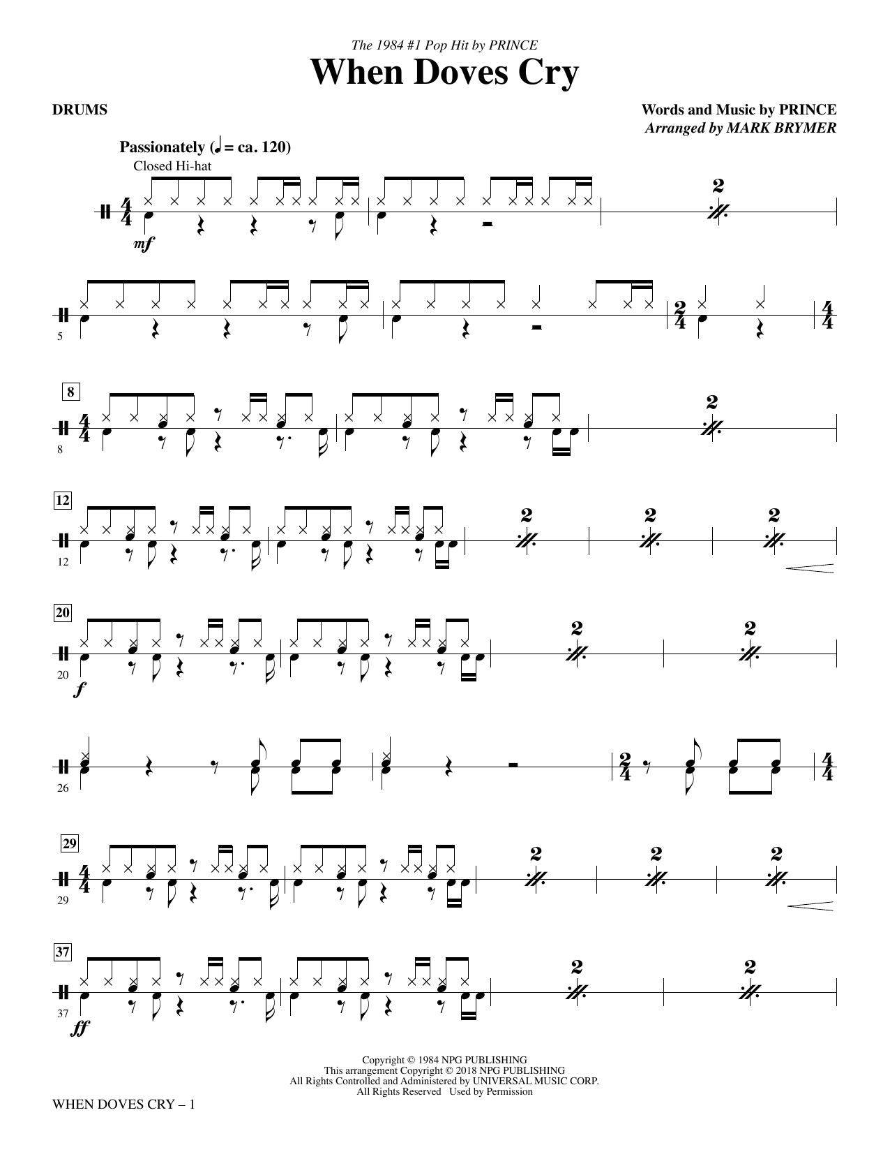 When Doves Cry - Drums (Choir Instrumental Pak)