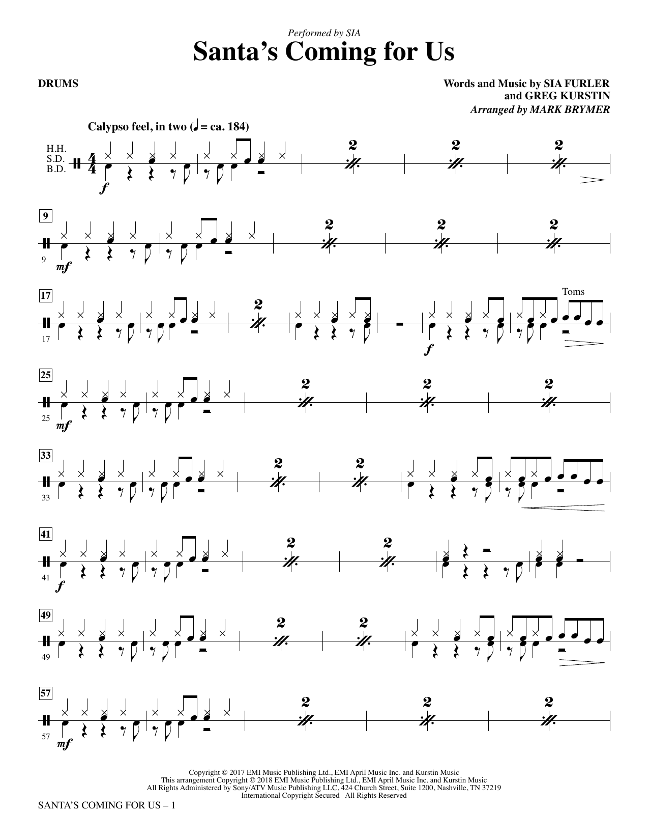 Santa's Coming for Us - Drums (Choir Instrumental Pak)