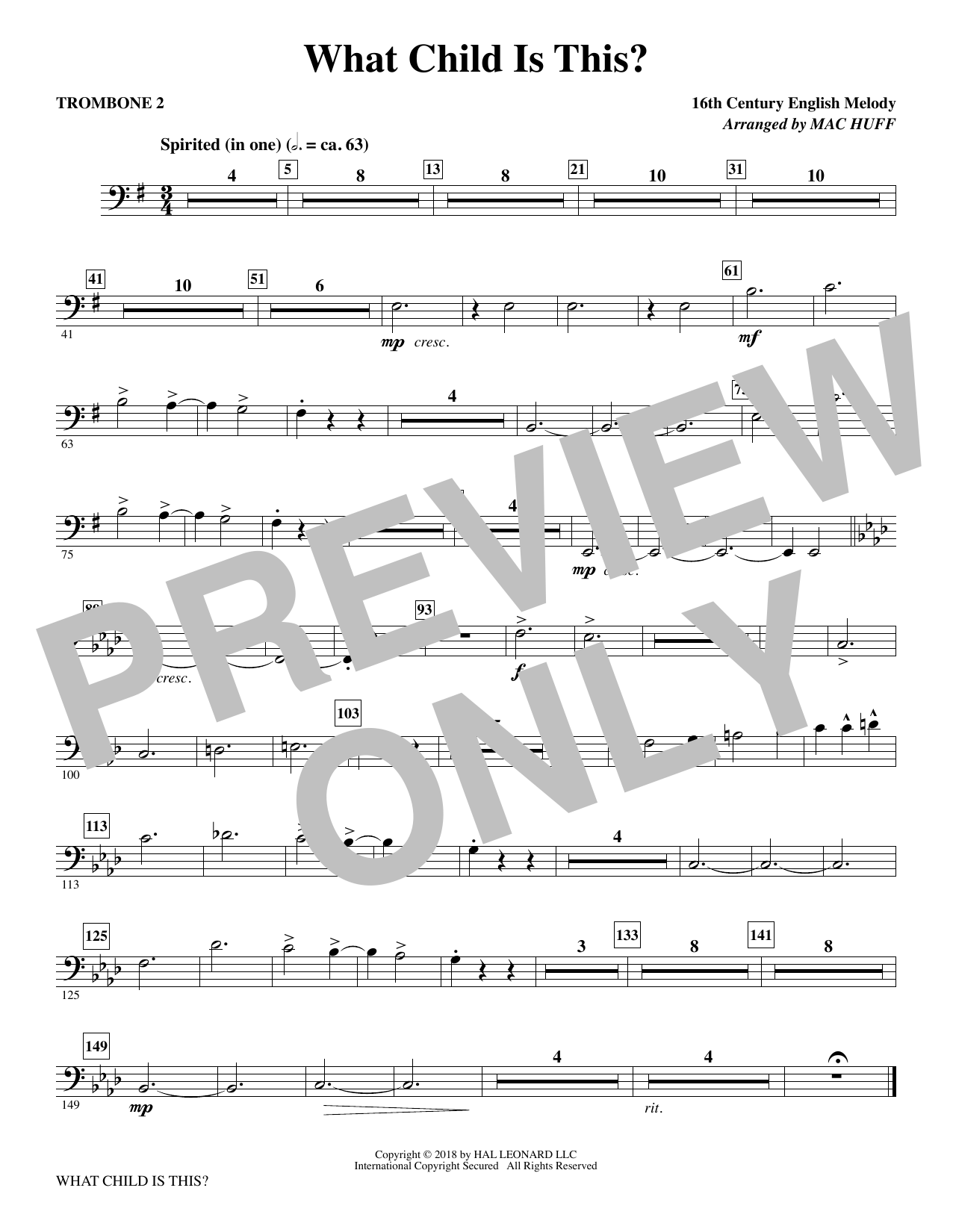 What Child Is This? - Trombone 2 (Choir Instrumental Pak)