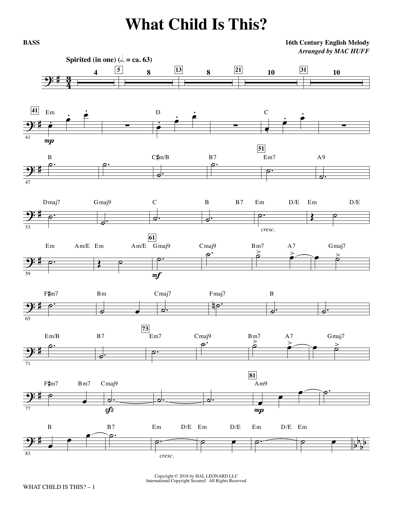 What Child Is This? - Bass (Choir Instrumental Pak)