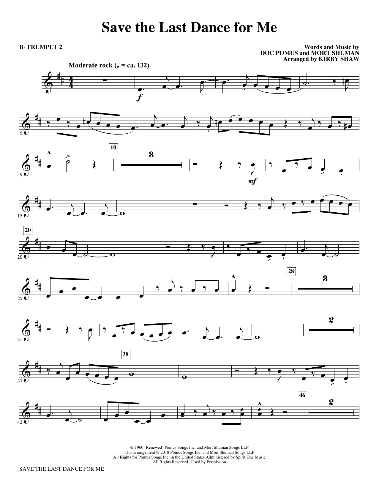 Save the Last Dance for Me (arr. Kirby Shaw) - Bb Trumpet 2 (Choir Instrumental Pak)