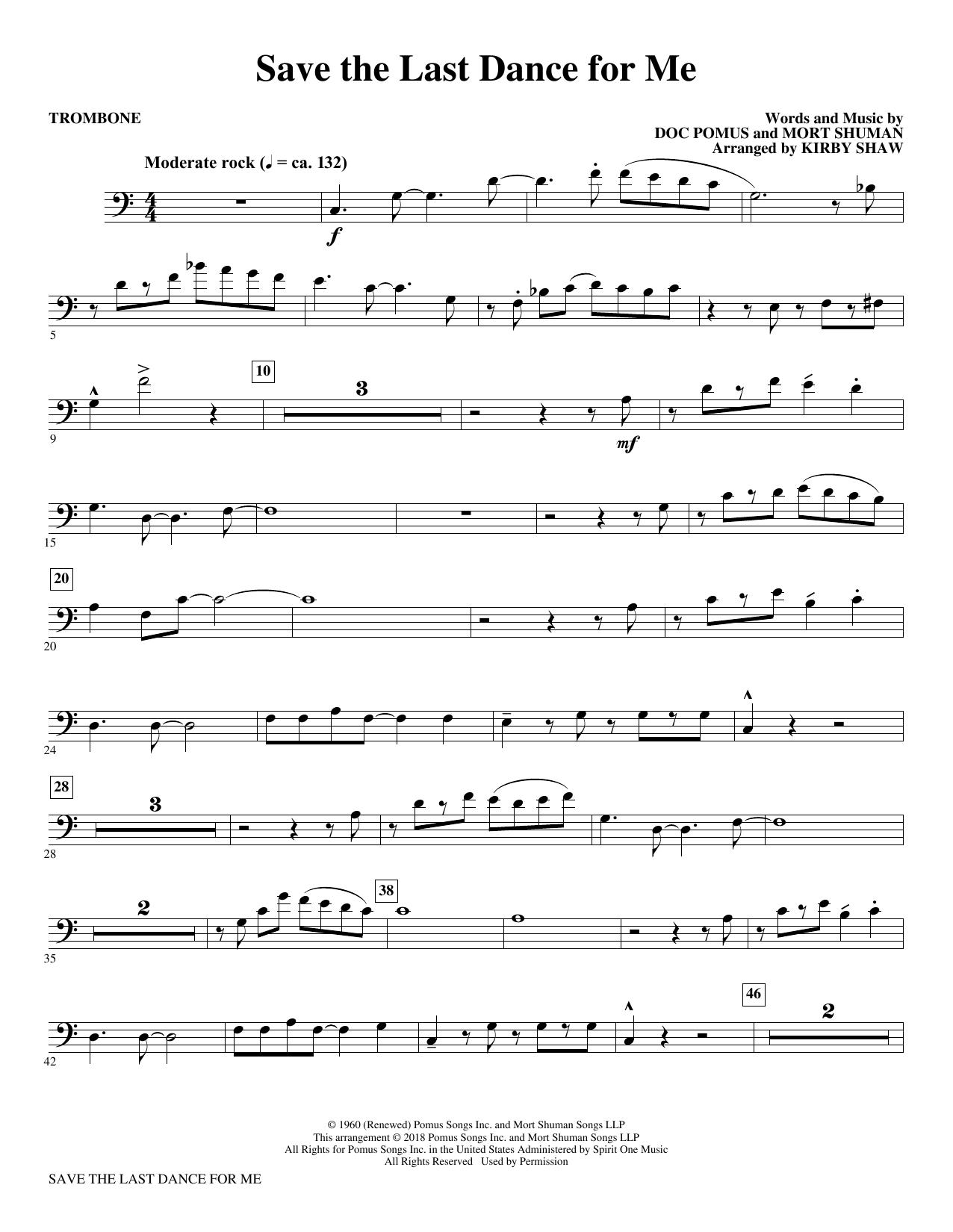 Save the Last Dance for Me (arr. Kirby Shaw) - Trombone (Choir Instrumental Pak)