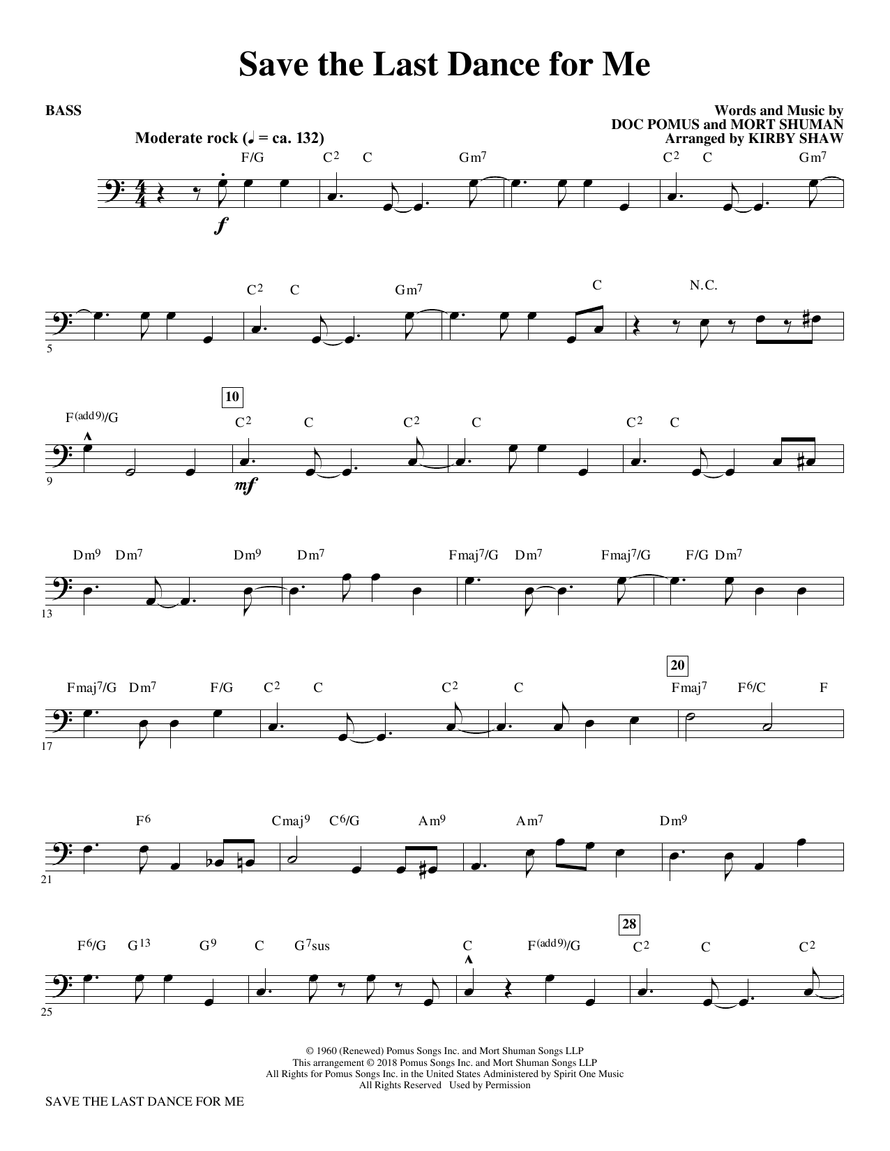 Save the Last Dance for Me (arr. Kirby Shaw) - Bass (Choir Instrumental Pak)