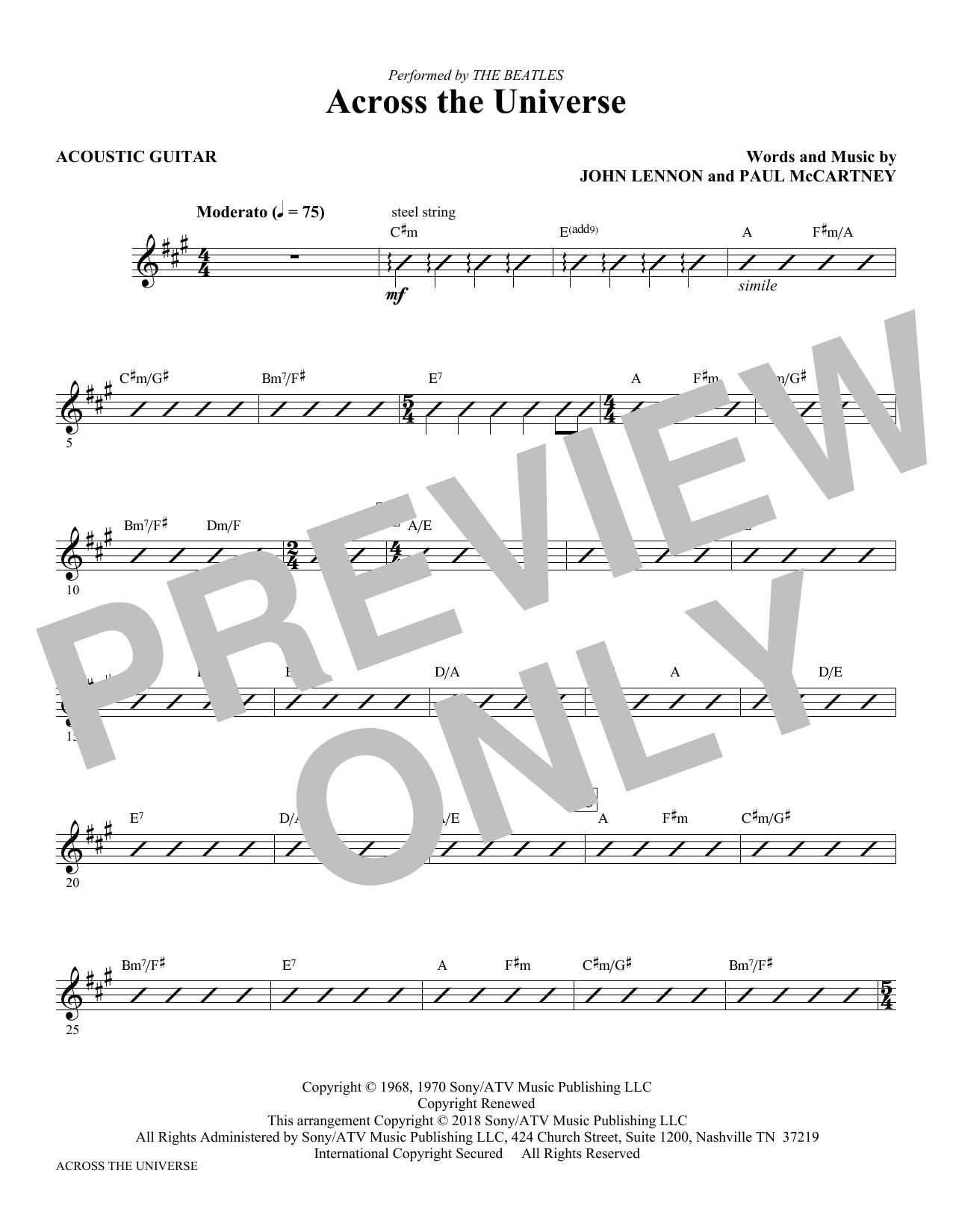 Across the Universe - Guitar (Choir Instrumental Pak)