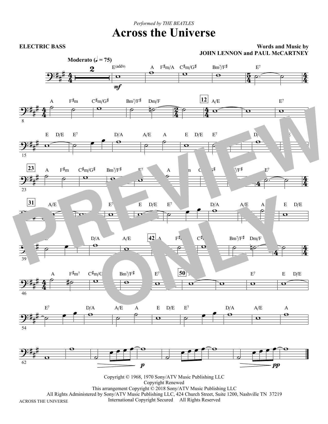 Across the Universe - Bass (Choir Instrumental Pak)