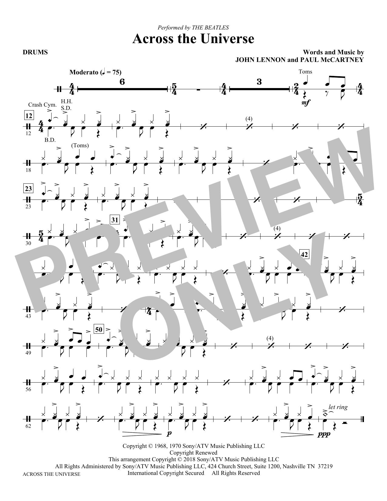 Across the Universe - Drums (Choir Instrumental Pak)