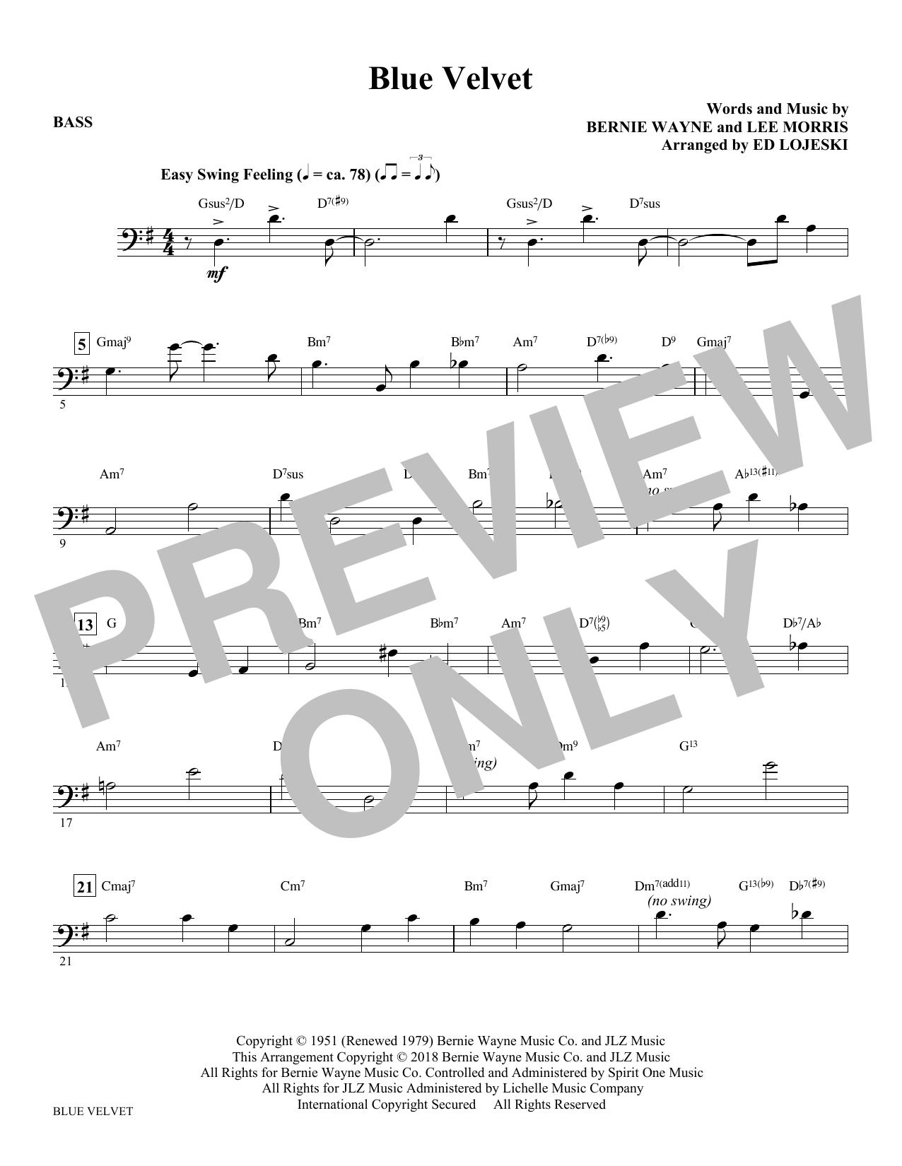 Blue Velvet - Bass (Choir Instrumental Pak)
