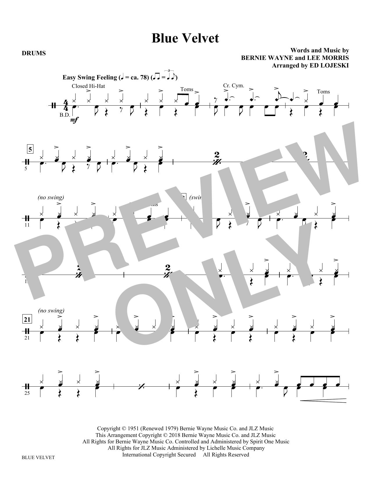 Blue Velvet - Drums (Choir Instrumental Pak)