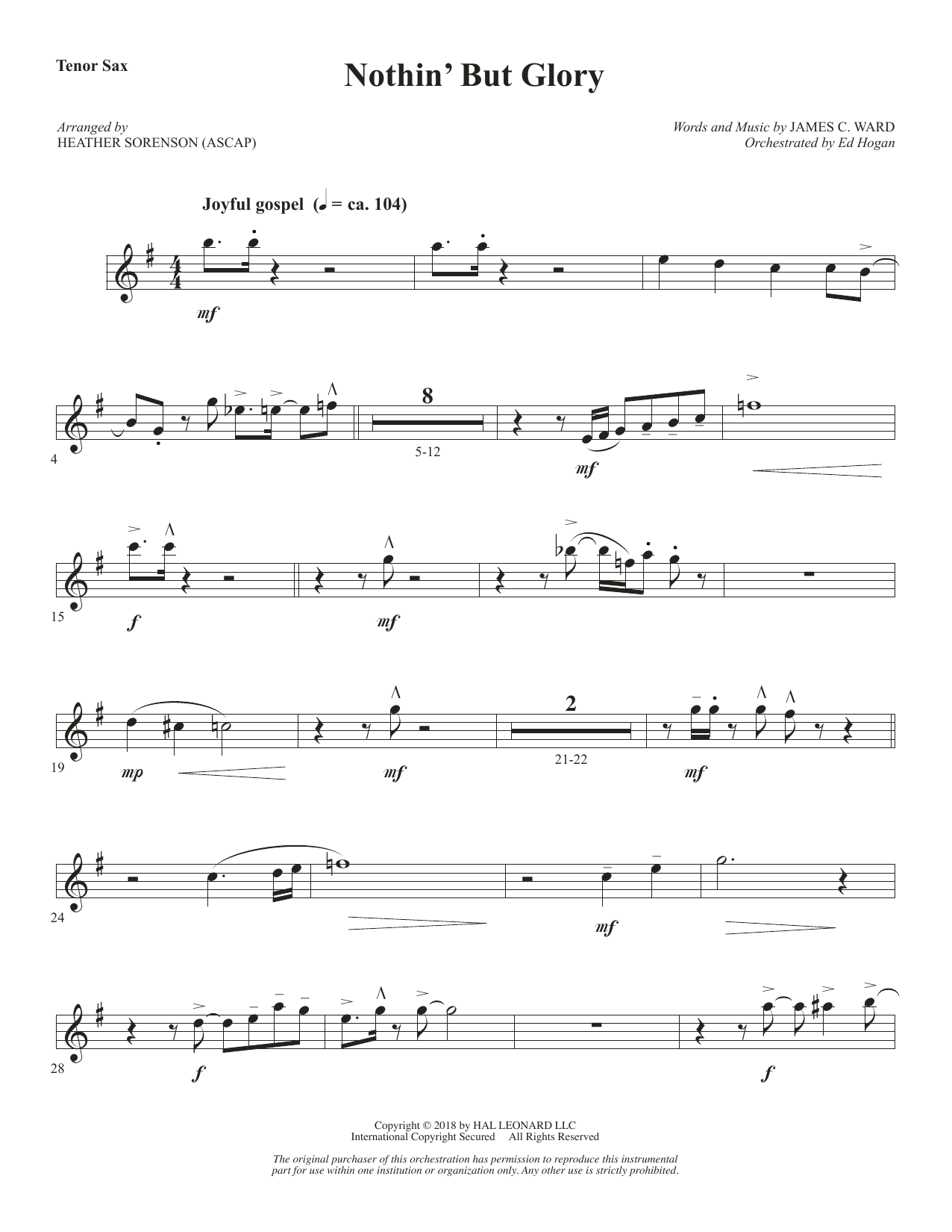 Nothin' But Glory - Tenor Sax (Choir Instrumental Pak)