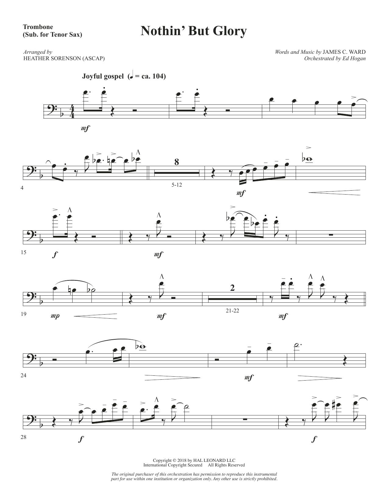 Nothin' But Glory - Trombone (sub. Tenor Sax) (Choir Instrumental Pak)