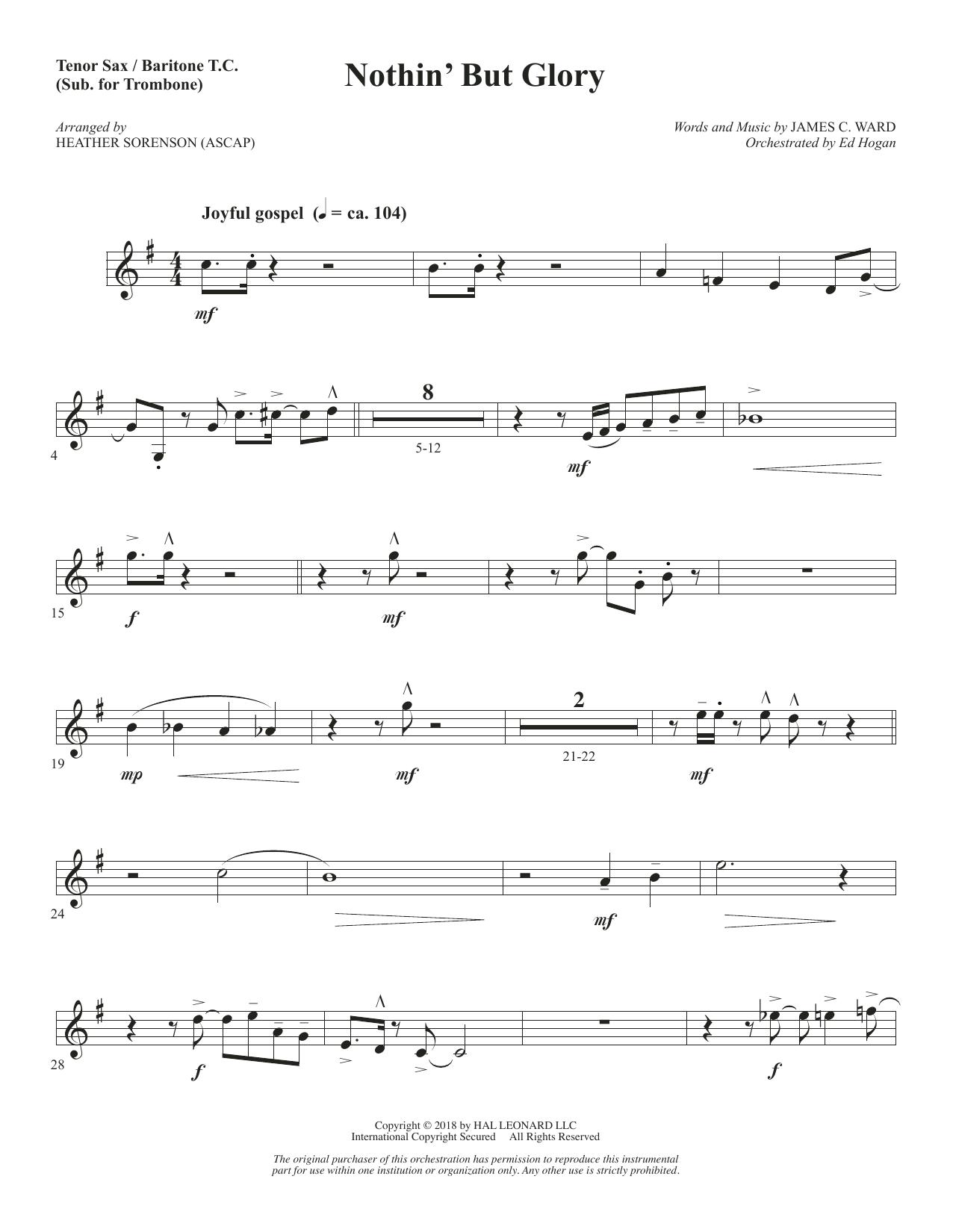 Nothin' But Glory - Tenor Sax/Bari TC (sub. Tbn) (Choir Instrumental Pak)