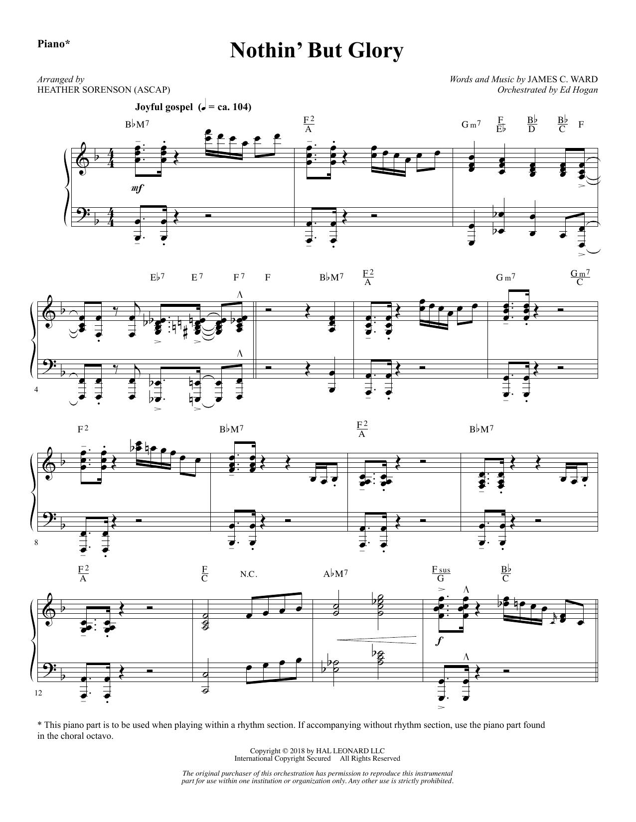 Nothin' But Glory - Piano (Choir Instrumental Pak)