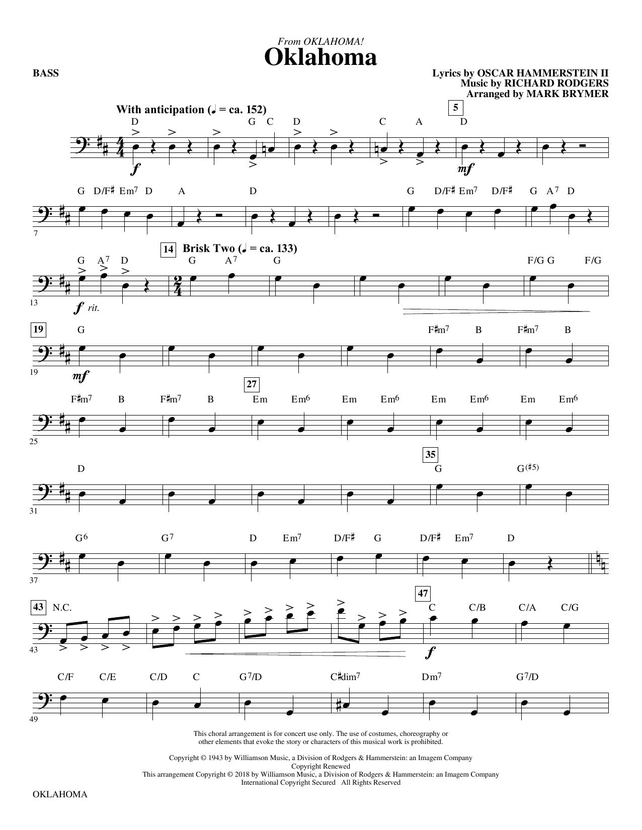Oklahoma (from Oklahoma!) - Bass (Choir Instrumental Pak)
