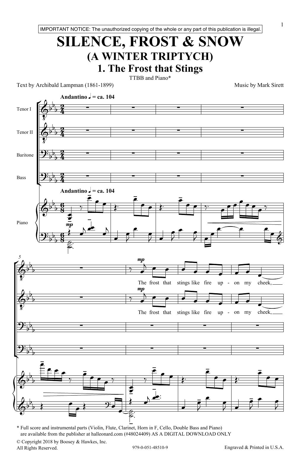 Silence, Frost & Beauty (A Winter Triptych) (TTBB Choir)