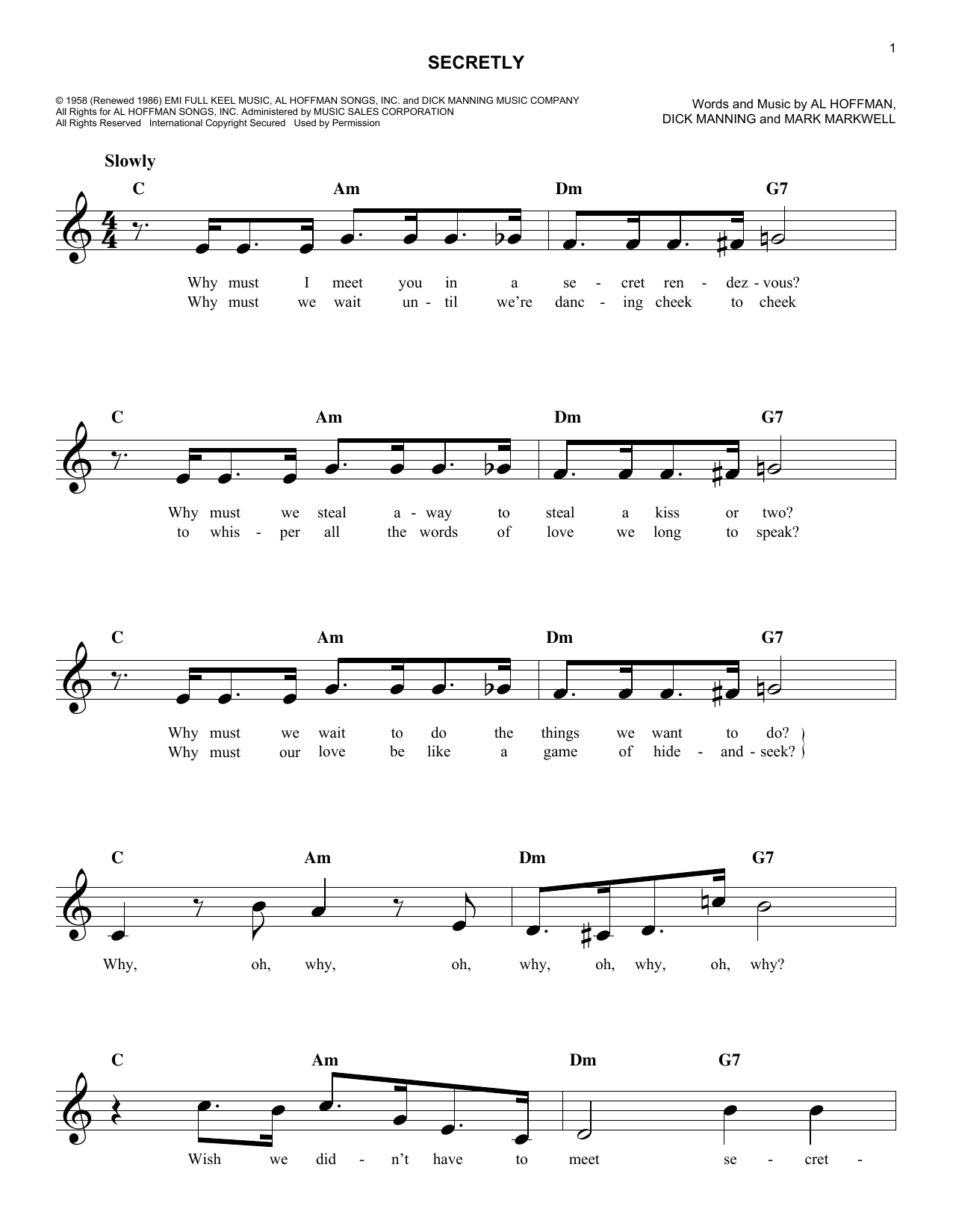 Secretly Sheet Music