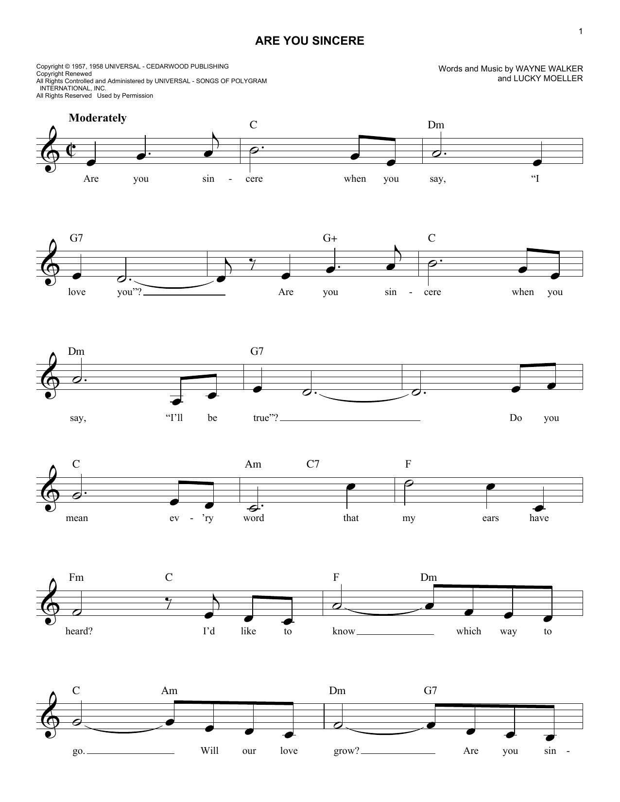 Are You Sincere (Lead Sheet / Fake Book)