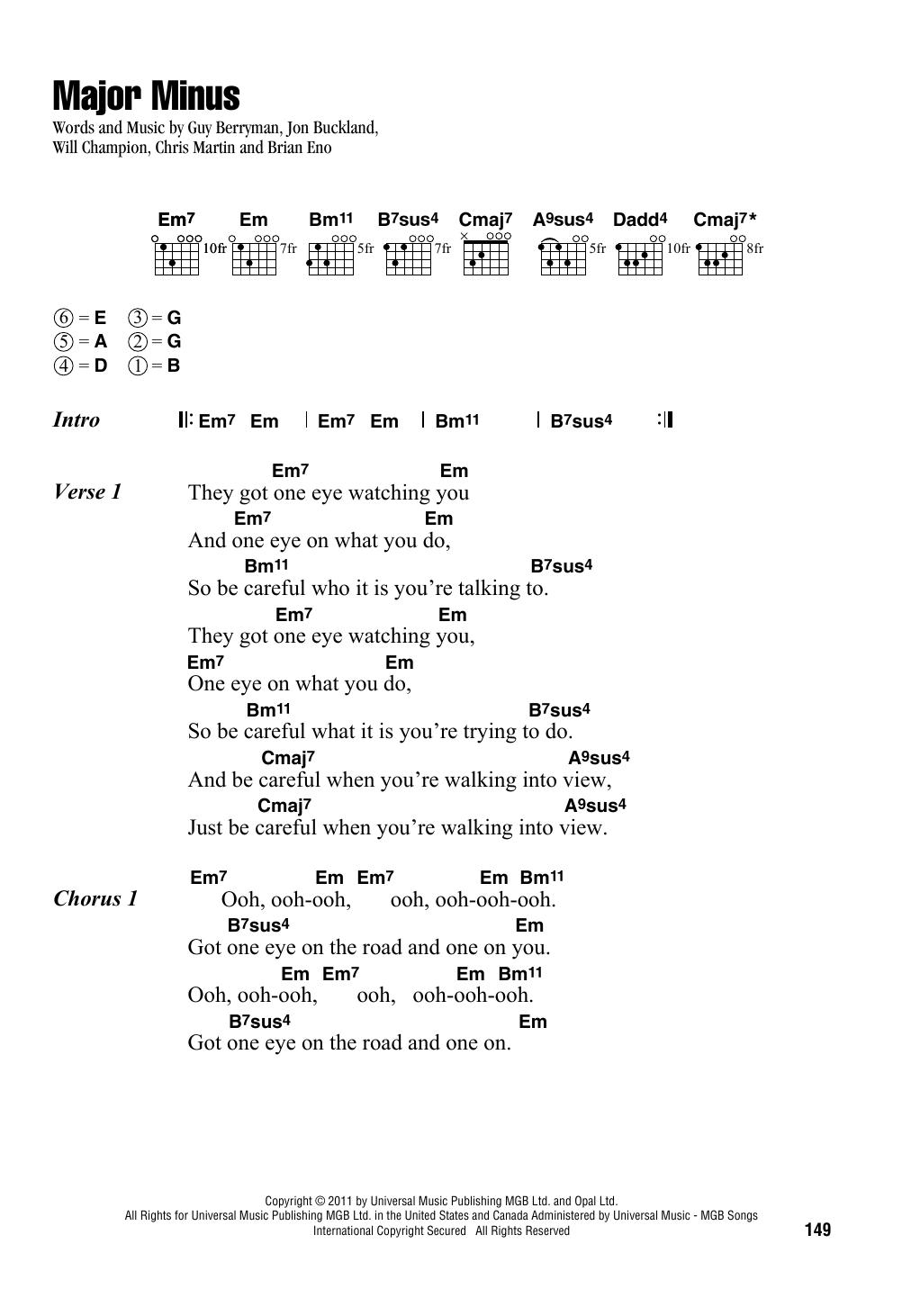 Major Minus Sheet Music Coldplay Lyrics Chords