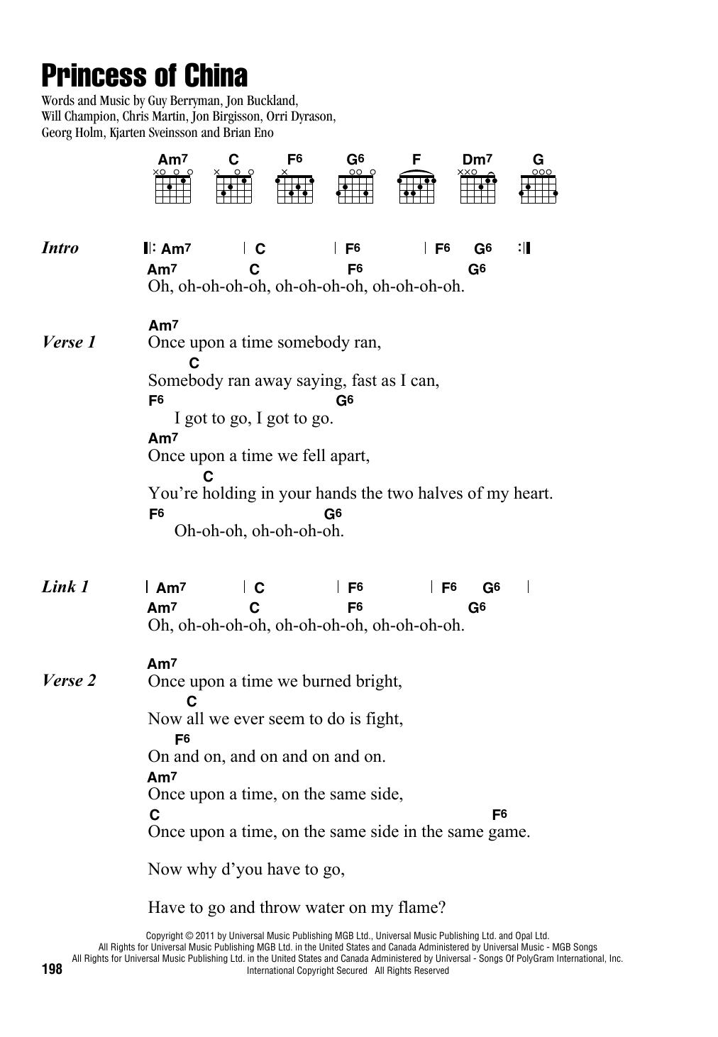 Princess Of China (Guitar Chords/Lyrics)