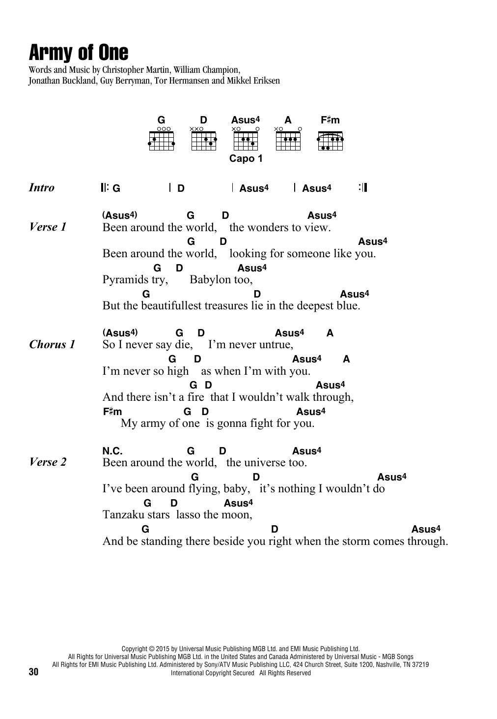 Army Of One (Guitar Chords/Lyrics)