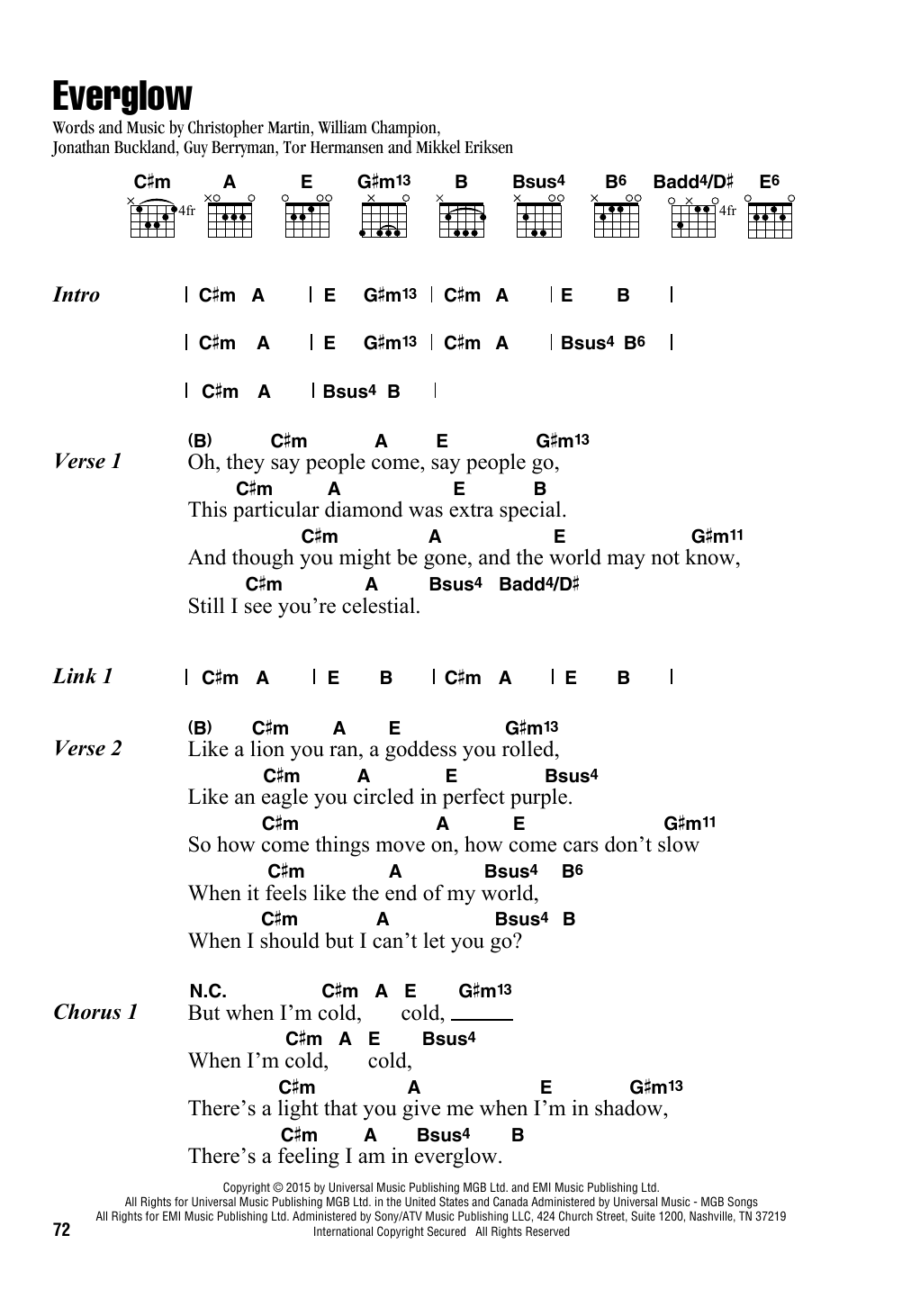 Everglow Sheet Music