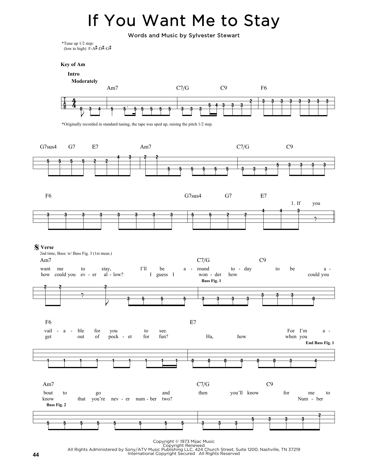 If You Want Me To Stay Sheet Music