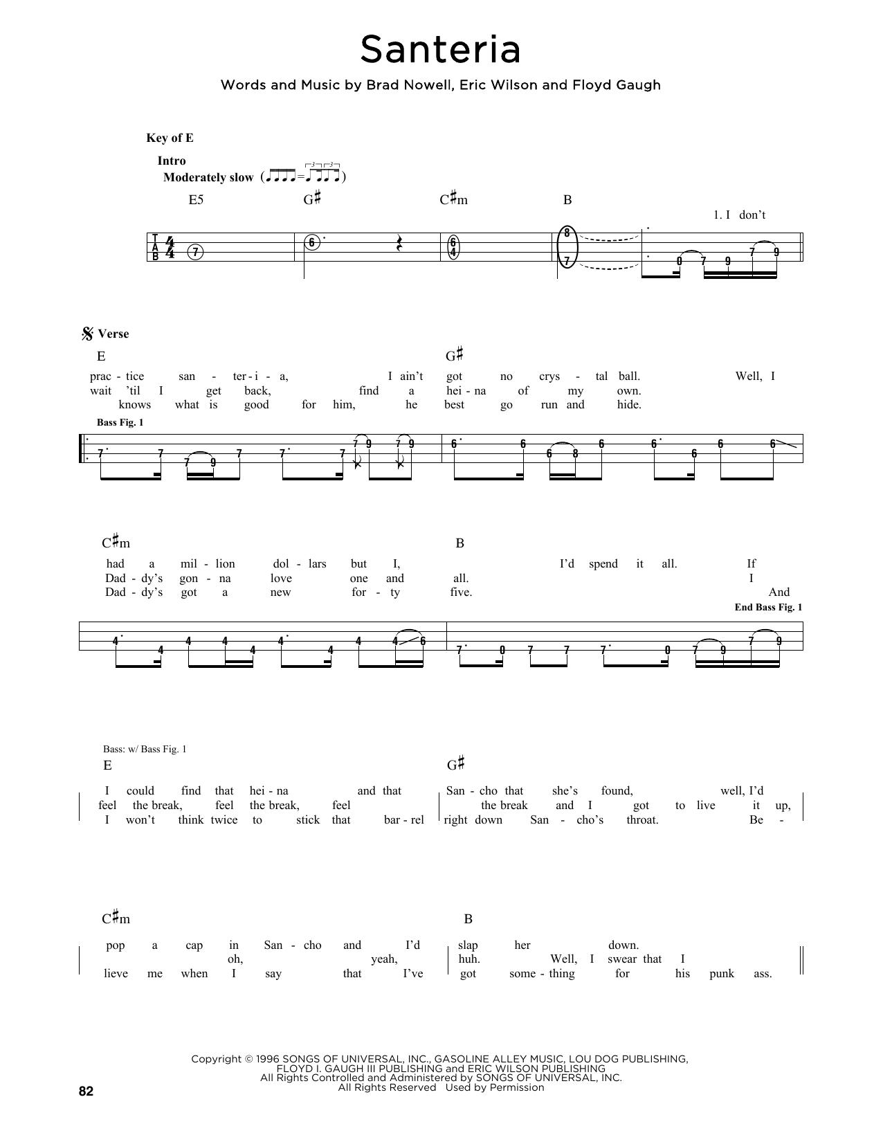 Santeria Sheet Music