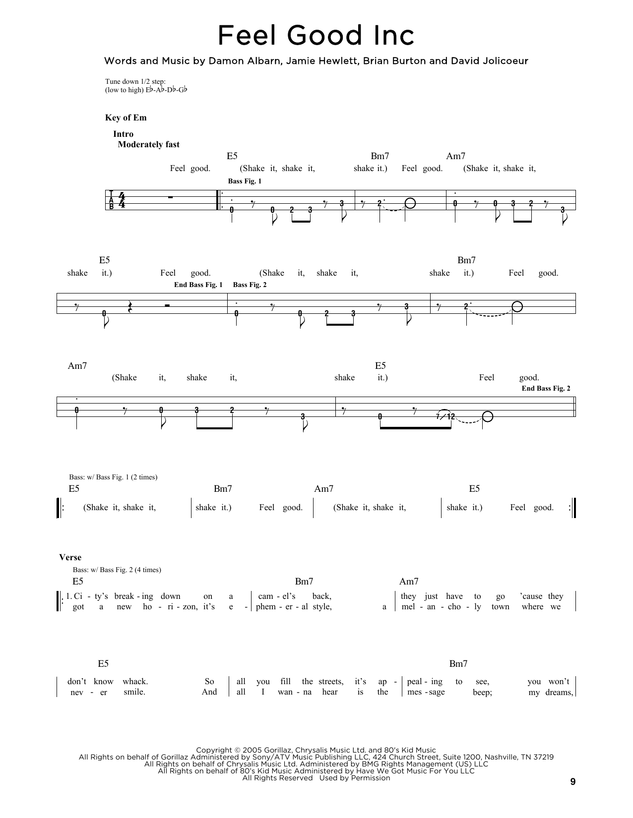 Feel Good Inc (feat. De La Soul) Sheet Music