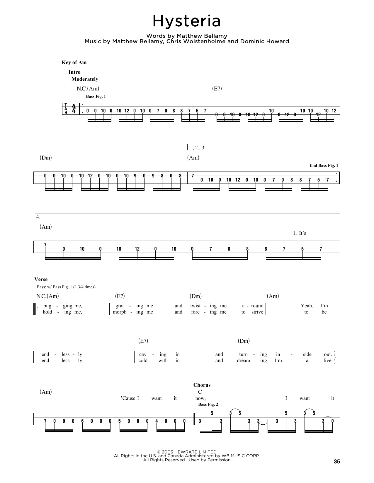 Hysteria (Bass)